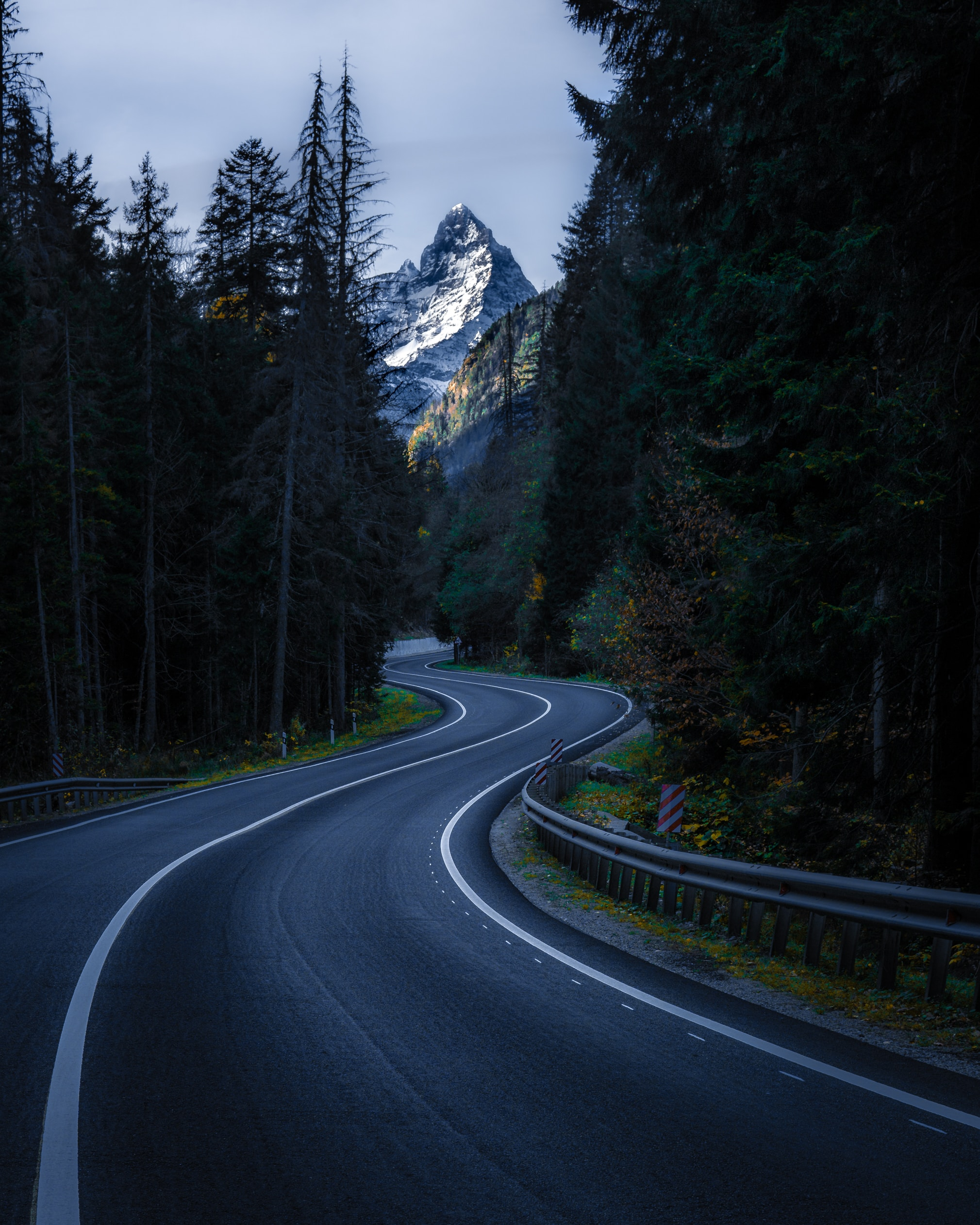 87775 download wallpaper Nature, Trees, Mountain, Vertex, Top, Road, Winding, Sinuous screensavers and pictures for free