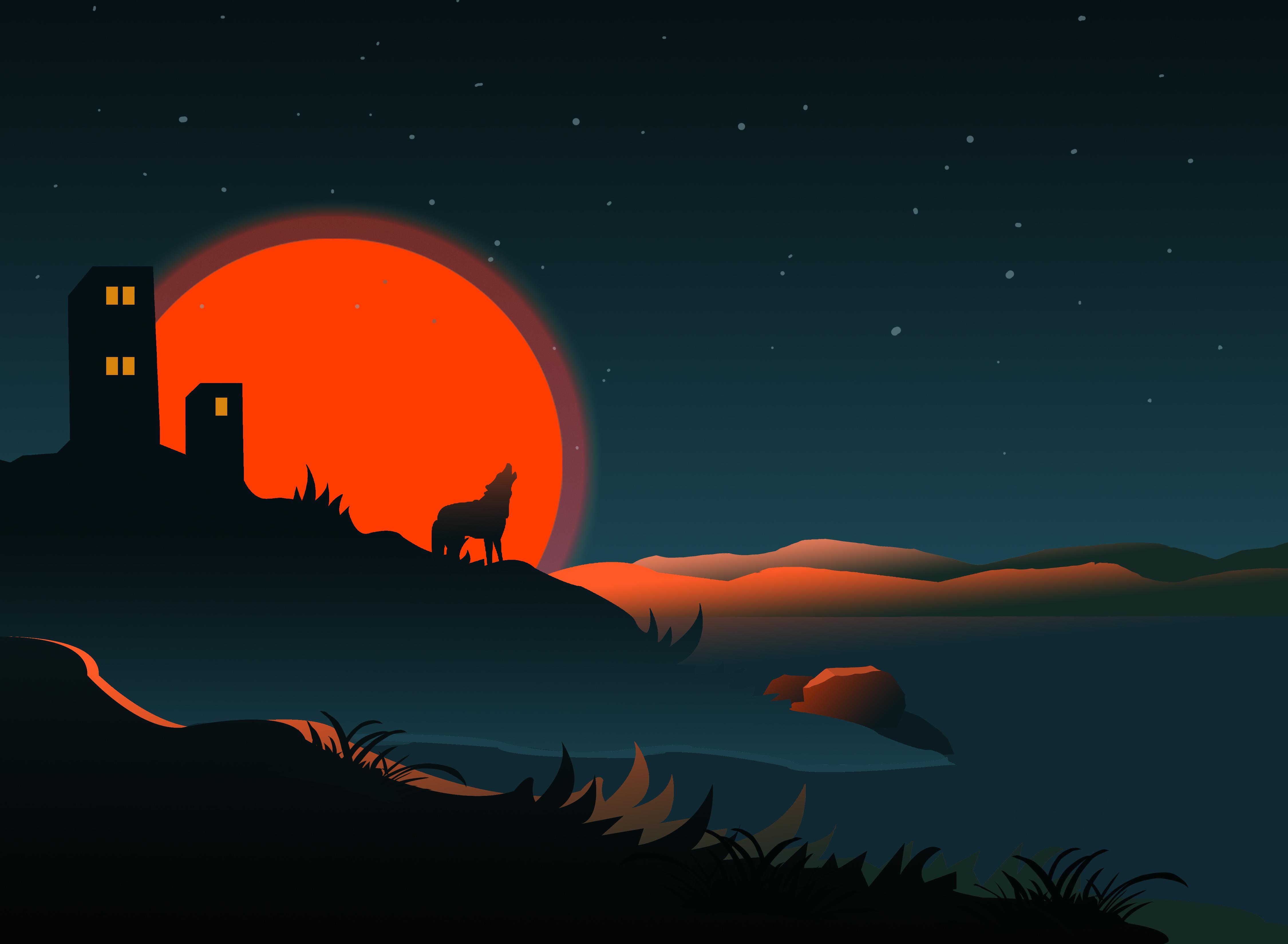 143113 Заставки и Обои Вектор на телефон. Скачать Вектор, Арт, Солнце, Силуэт, Волк, Здание картинки бесплатно