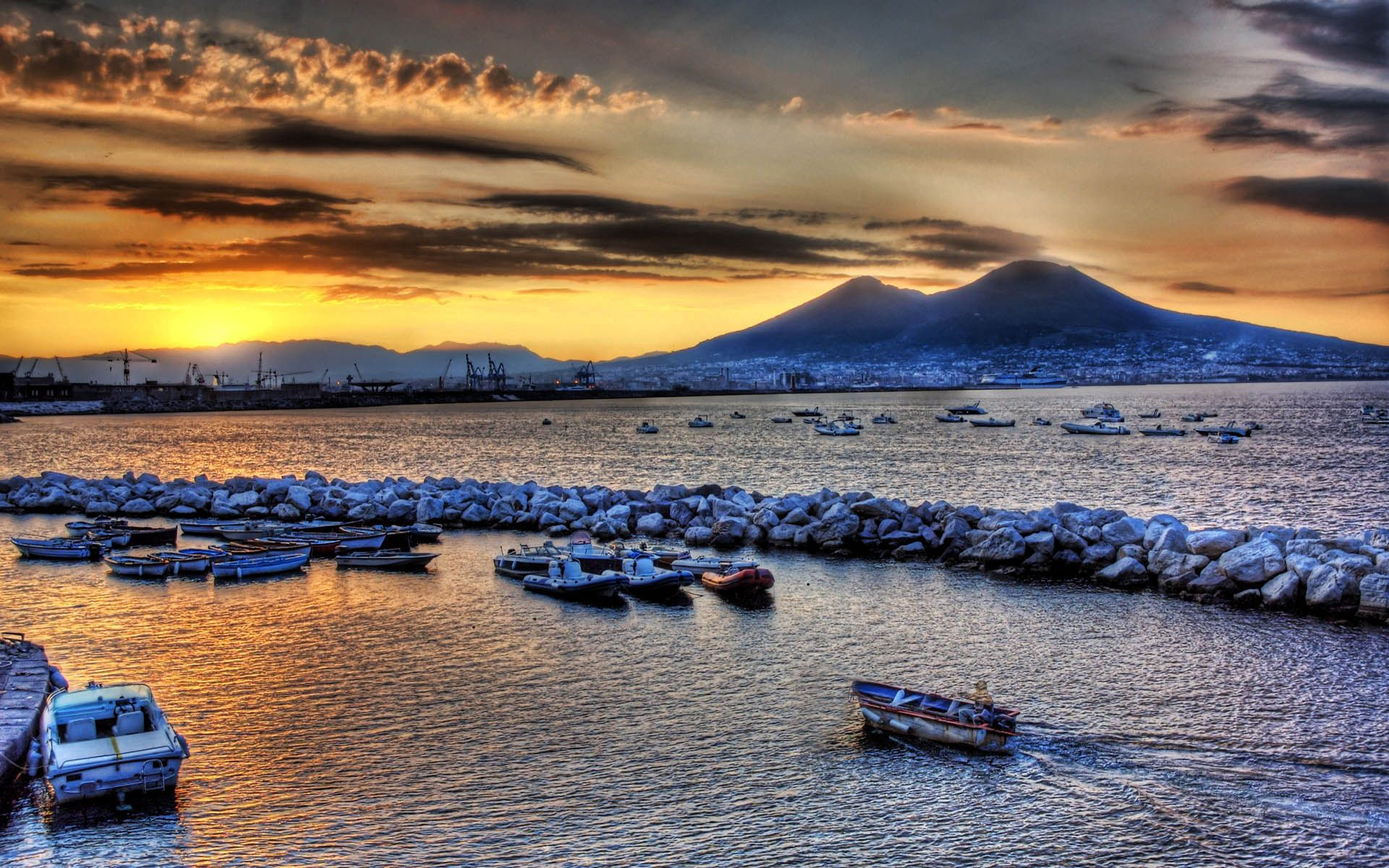 111655 download wallpaper Nature, Boats, Ships, Court, Sea, Stones, Sky, Evening, Mountains screensavers and pictures for free