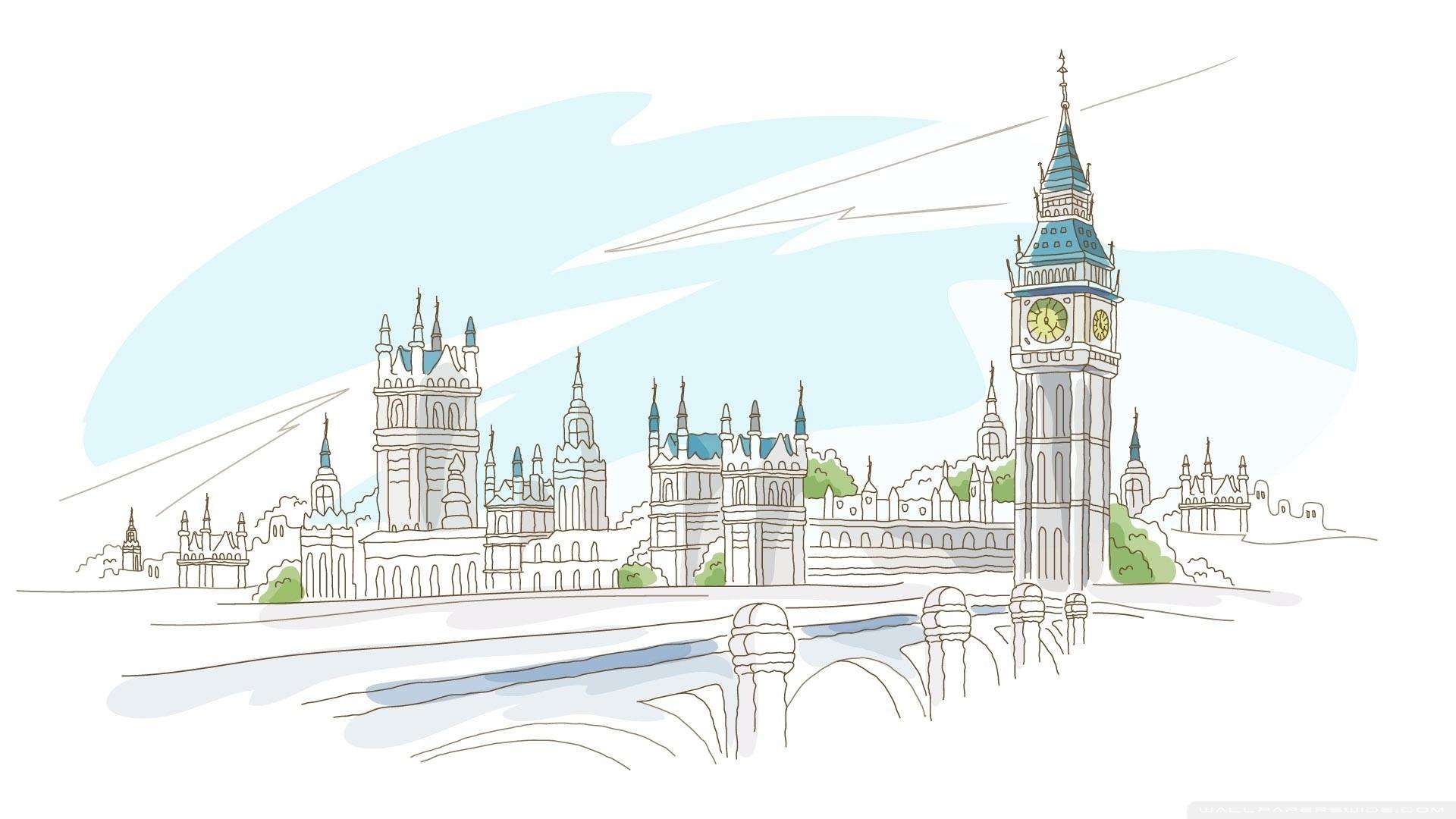17520 скачать обои Пейзаж, Рисунки, Лондон, Биг Бен (Big Ben) - заставки и картинки бесплатно