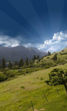 21443 скачать обои Пейзаж, Деревья, Трава, Небо, Горы, Облака - заставки и картинки бесплатно