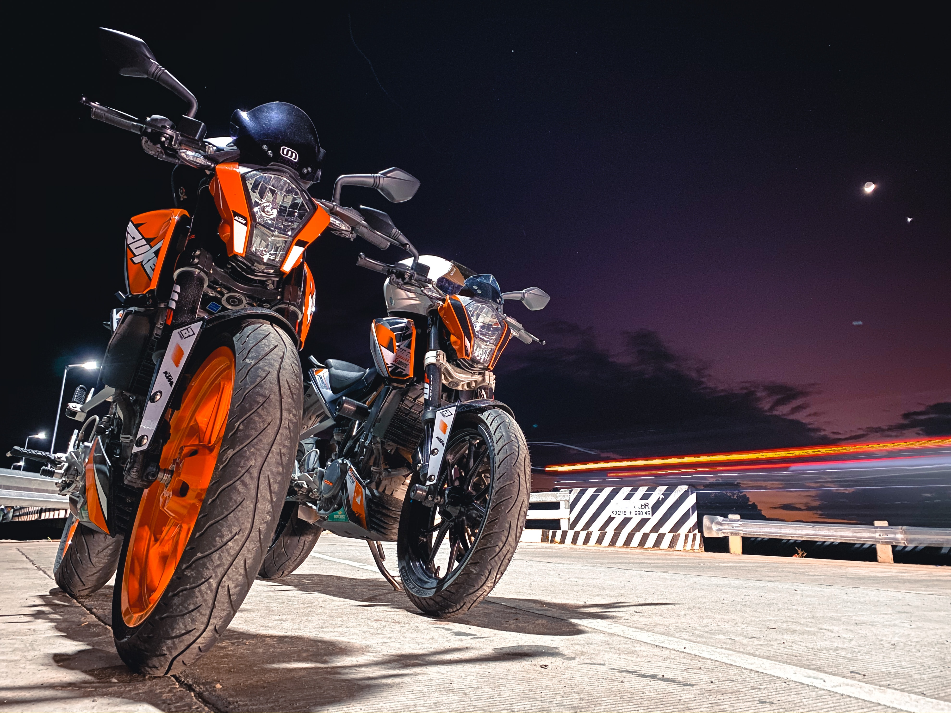 59947 free wallpaper 540x960 for phone, download images Bikes, Night, Motorcycles, Road, Ktm, Stories 540x960 for mobile