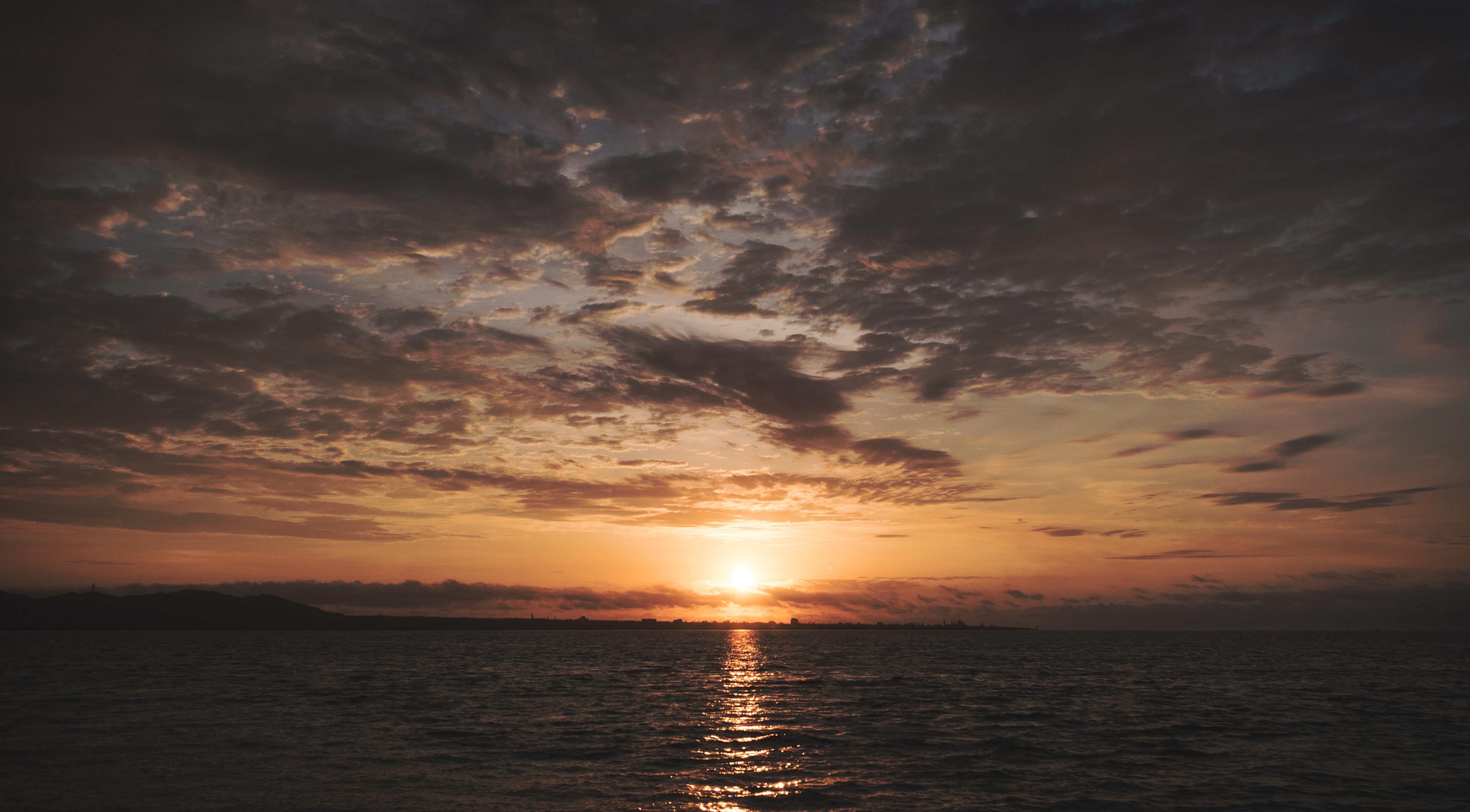 58993 скачать обои Природа, Море, Горизонт, Закат, Солнце - заставки и картинки бесплатно