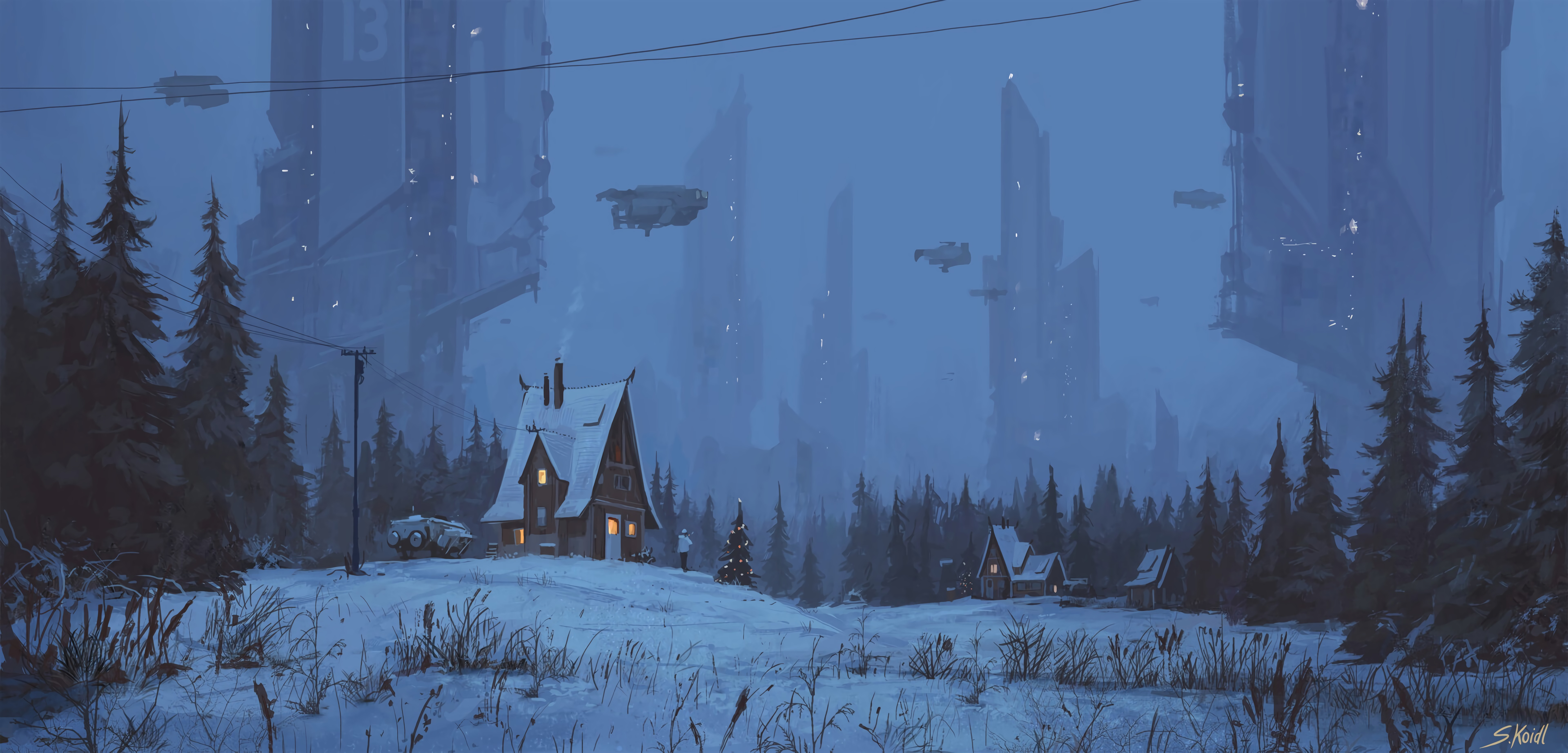 112744 Screensavers and Wallpapers Night for phone. Download Small House, Lodge, Future, Art, Night, Winter pictures for free