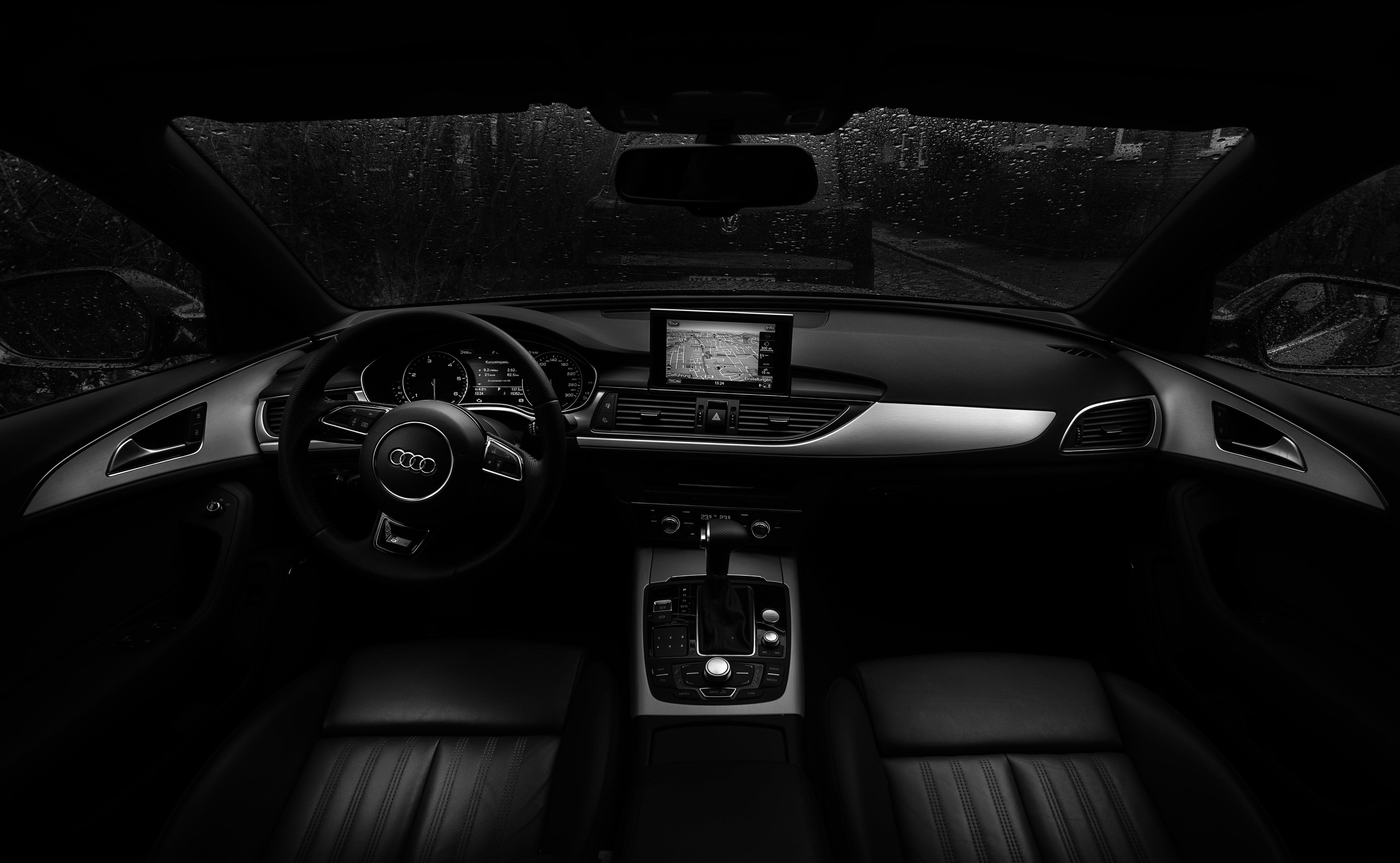 57035 скачать обои Ауди (Audi), Дождь, Тачки (Cars), Чб, Руль, Салон Автомобиля - заставки и картинки бесплатно