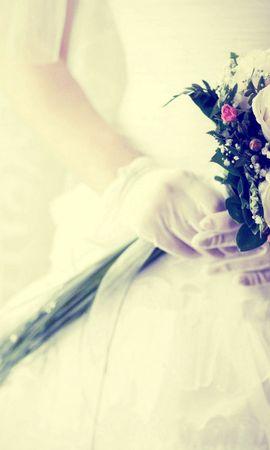 136505 Заставки и Обои Свадьба на телефон. Скачать Любовь, Невеста, Букет, Перчатки, Свадьба, Цветы картинки бесплатно