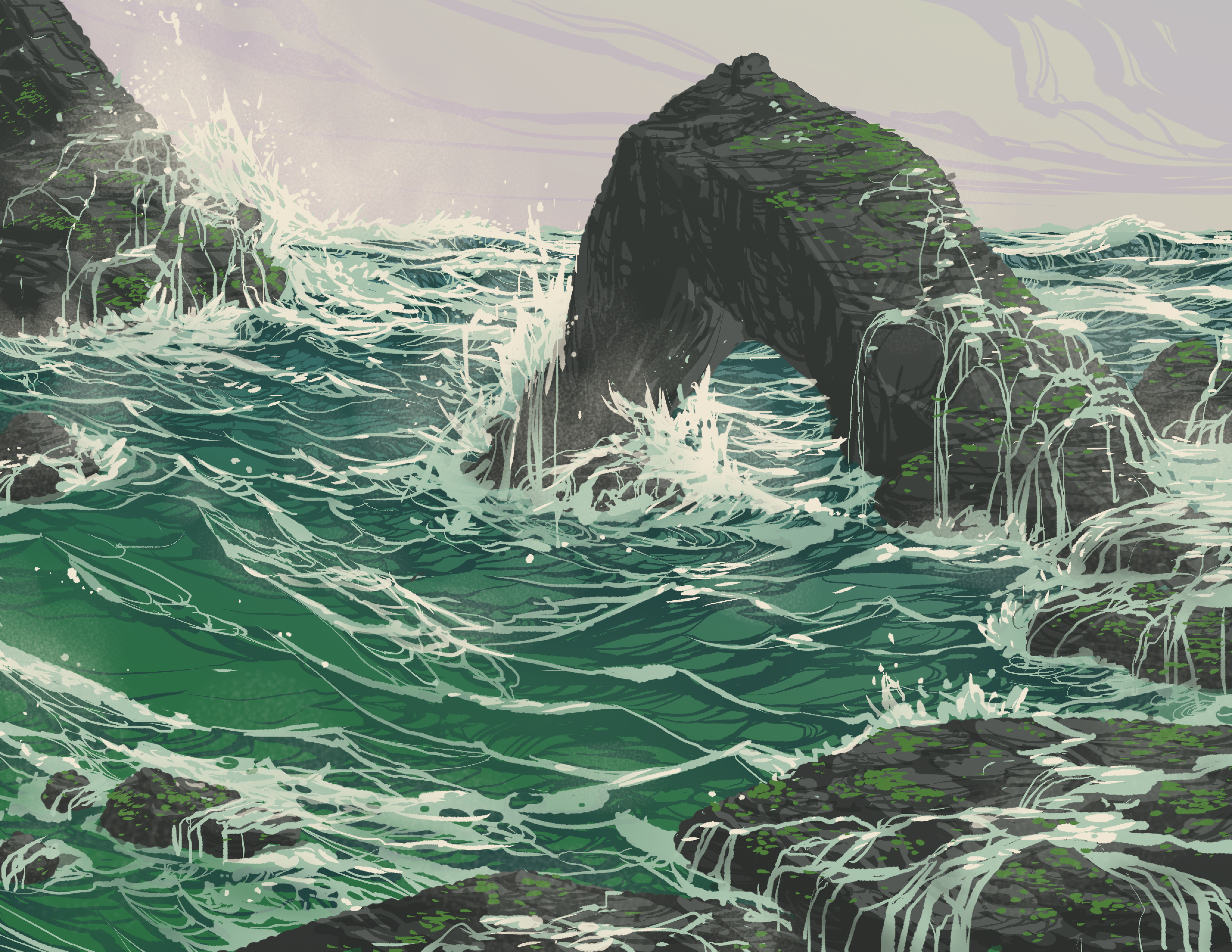 112569 download wallpaper Art, Sea, Waves, Rock, Vector screensavers and pictures for free