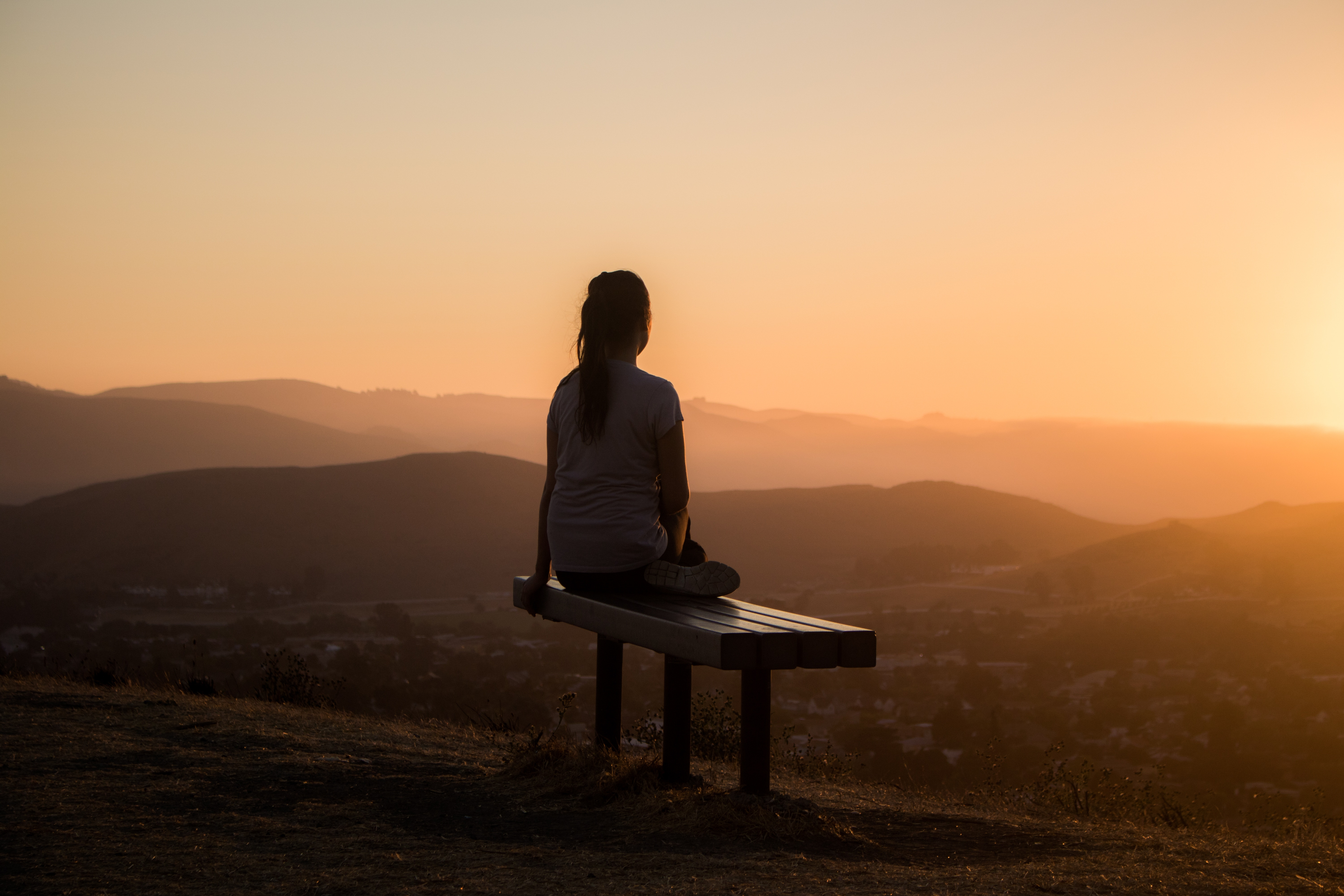 100491 Screensavers and Wallpapers Bench for phone. Download Sunset, Mountains, Dark, Privacy, Seclusion, Girl, Loneliness, Bench pictures for free