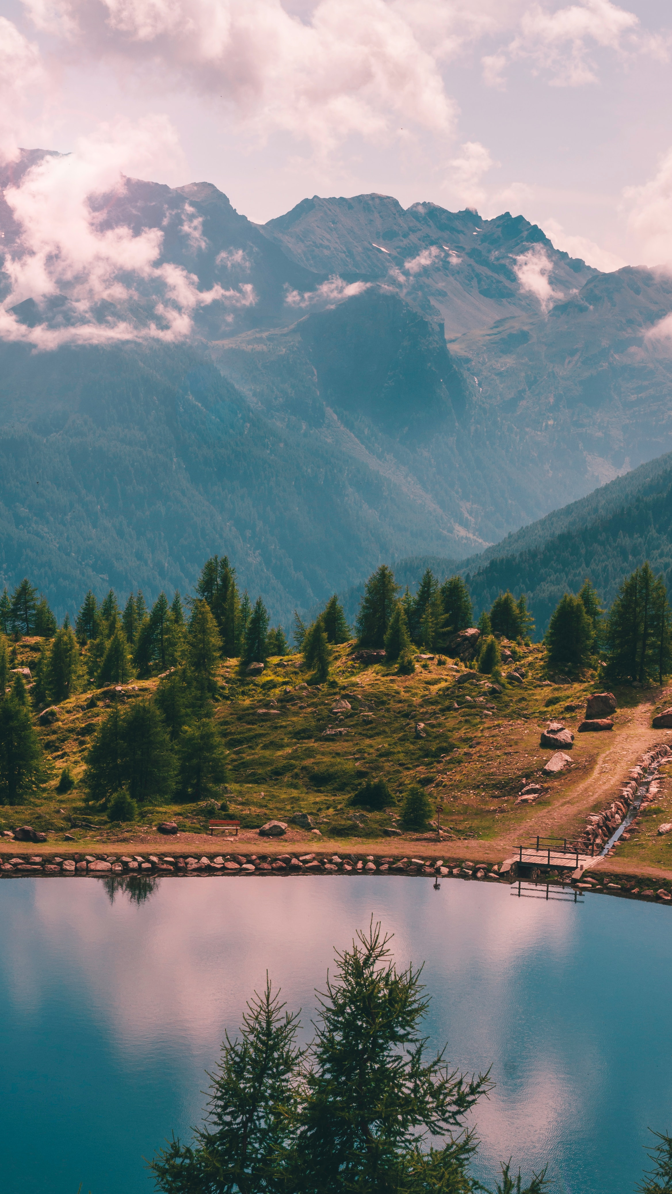62227 download wallpaper Nature, Lake, Trees, Shore, Bank, View From Above, Mountains, Landscape screensavers and pictures for free