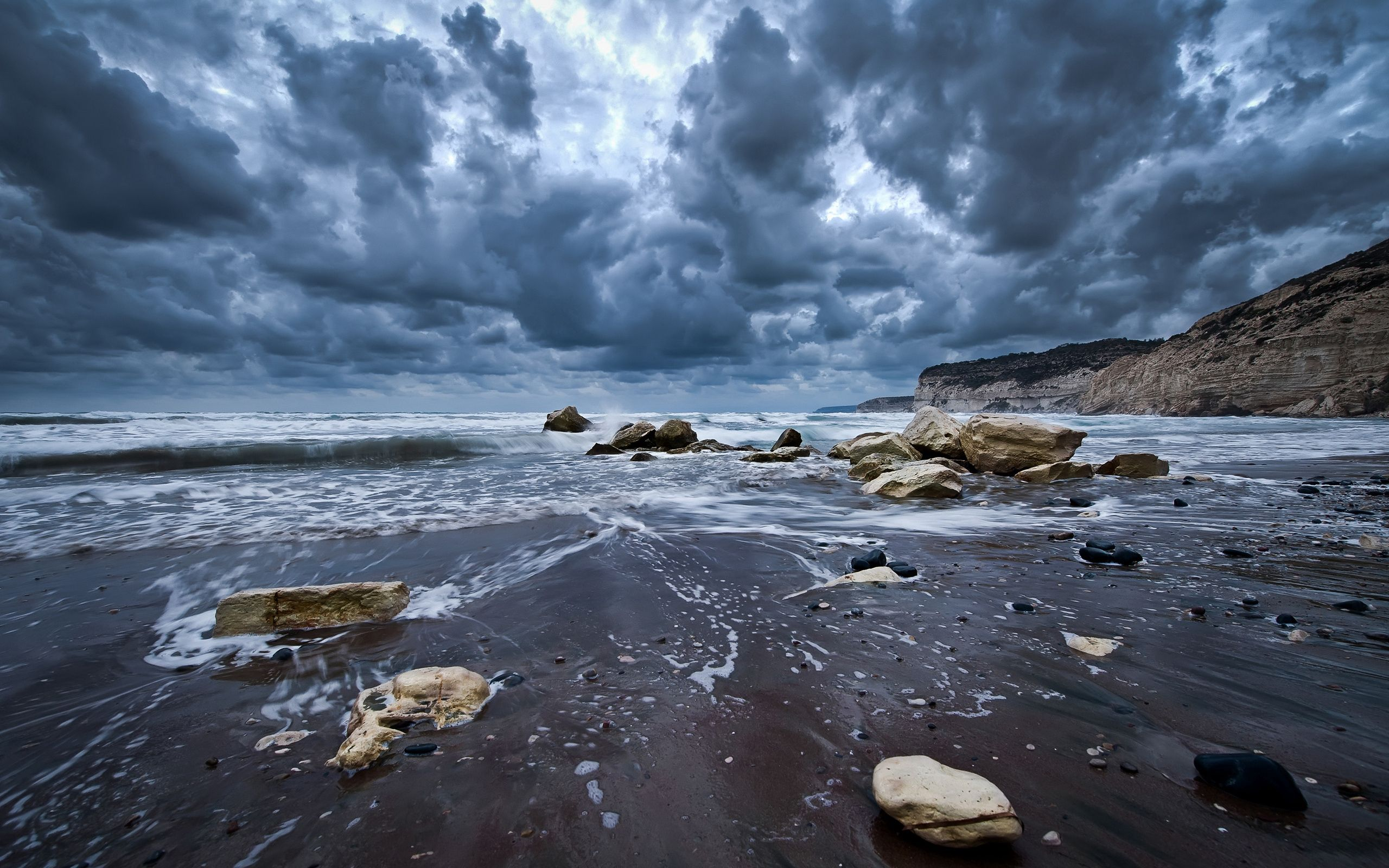 63172 Screensavers and Wallpapers Wet for phone. Download Nature, Stones, Sky, Sea, Clouds, Sand, Wet, Foam, Mainly Cloudy, Overcast, Gloomy pictures for free