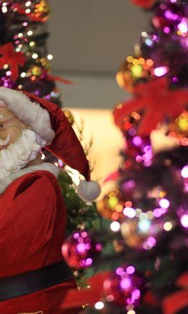 139322 descargar fondo de pantalla Vacaciones, Papá Noel, Guirnaldas, Guirnalda, Navidad, Abetos: protectores de pantalla e imágenes gratis