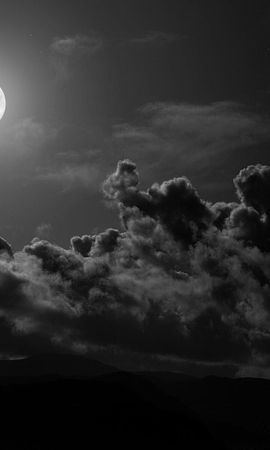 134981 baixar papel de parede Lua, Nuvens, Céu, Preto E Branco - protetores de tela e imagens gratuitamente