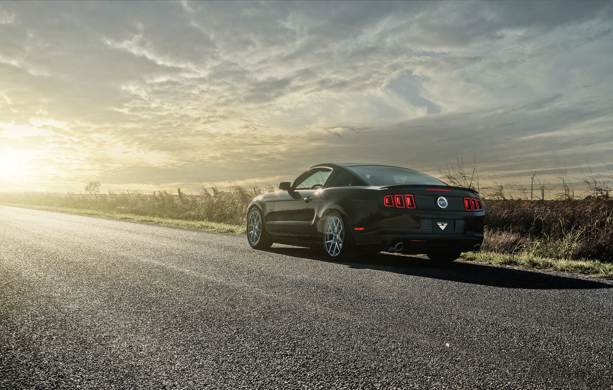 119763 download wallpaper Auto, Mustang, Cars, Shine, Light, Road, Back View, Rear View, Gt screensavers and pictures for free