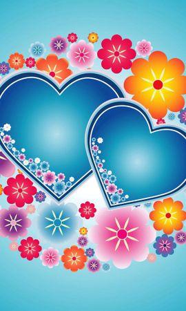 74855 скачать обои Любовь, Яркий, Цветы, Узоры, Сердца - заставки и картинки бесплатно
