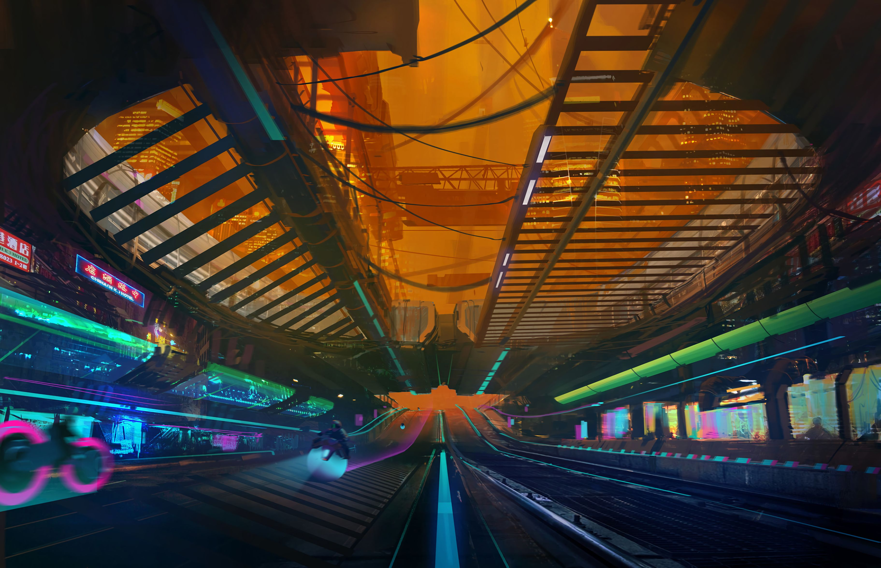122344 download wallpaper Overpass, Trestle, Art, Cyberpunk, Sci-Fi, Traffic, Movement screensavers and pictures for free