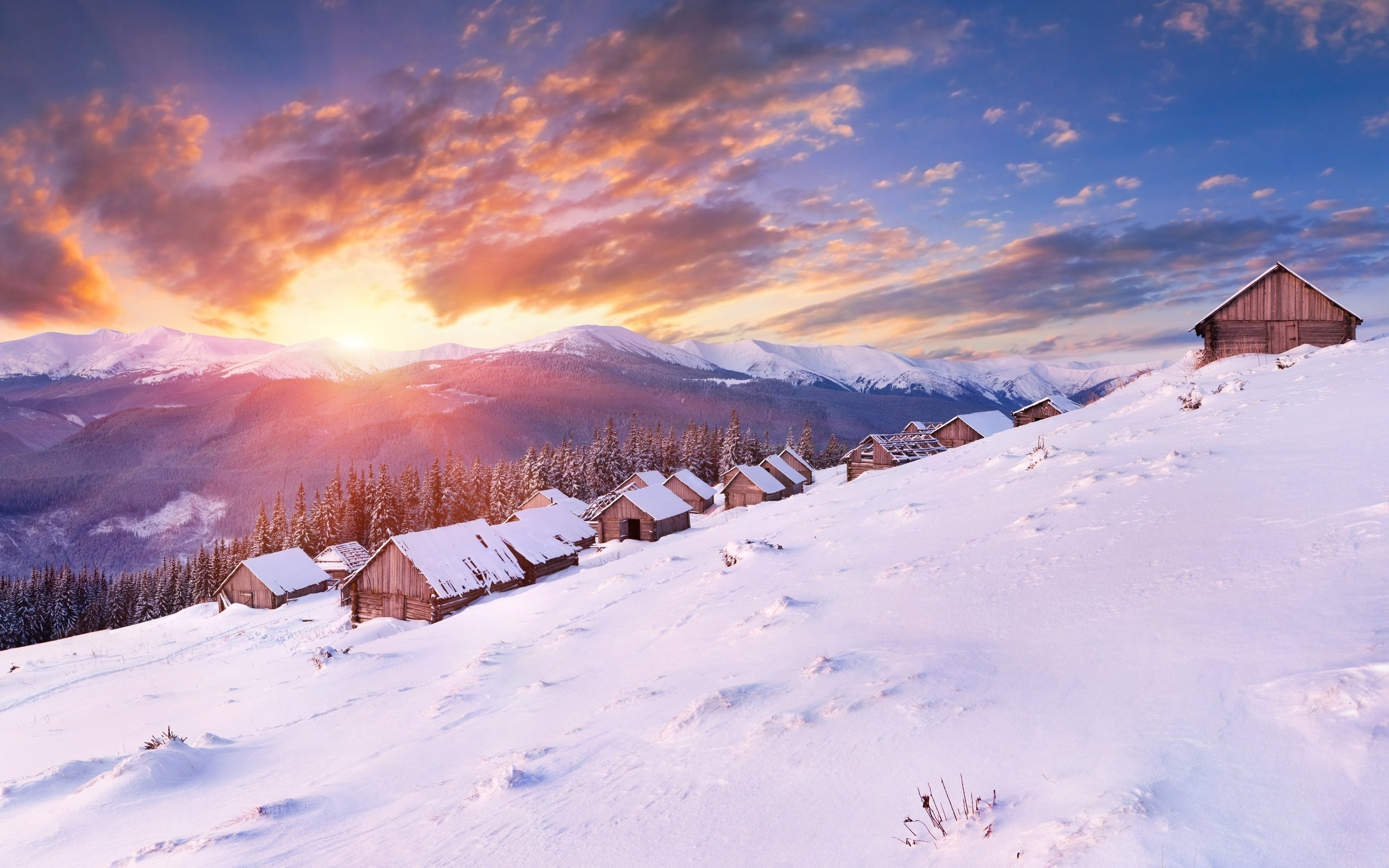 44394 download wallpaper Landscape, Winter, Mountains screensavers and pictures for free