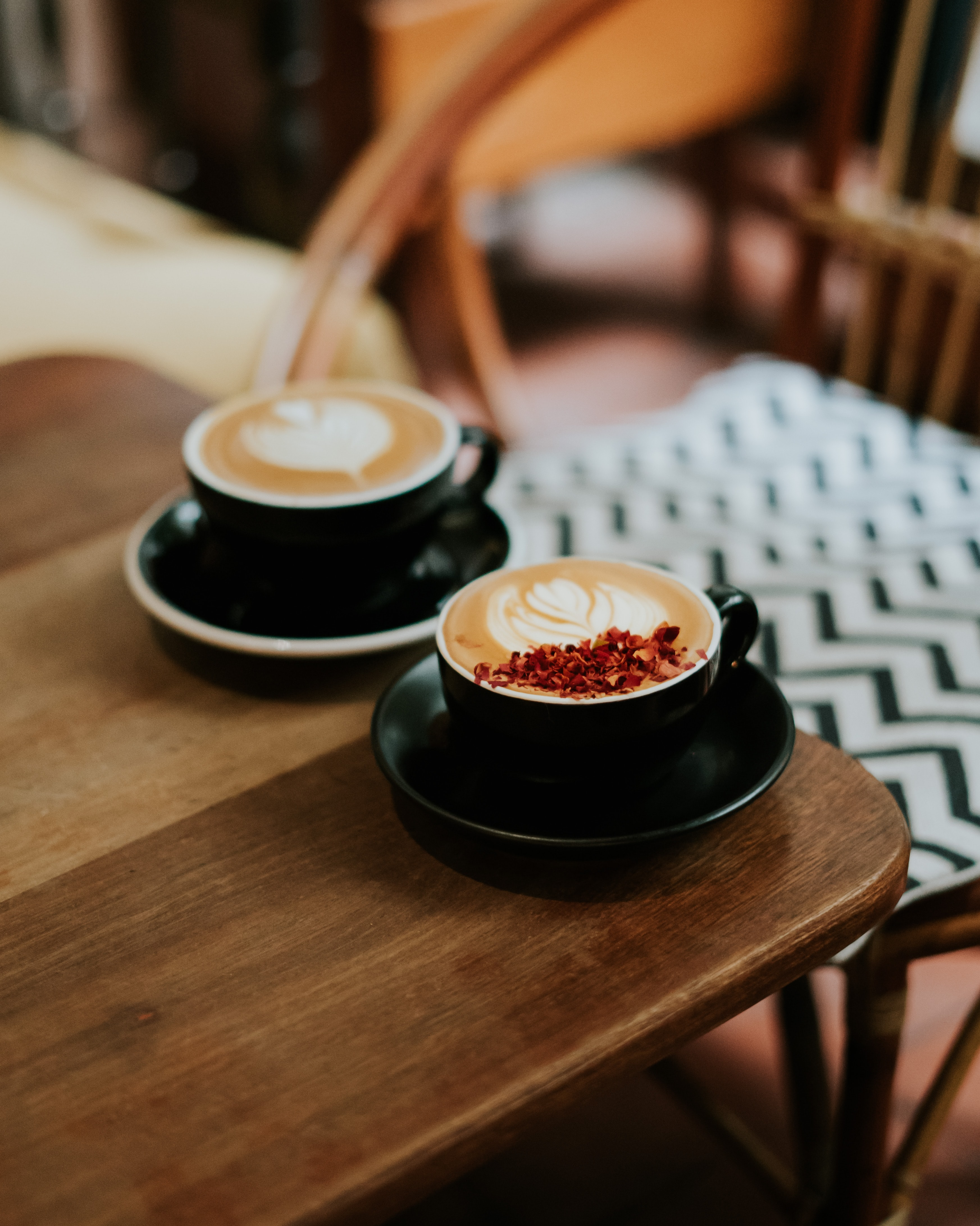107349 download wallpaper Food, Cups, Wood, Wooden, Table, Cappuccino screensavers and pictures for free