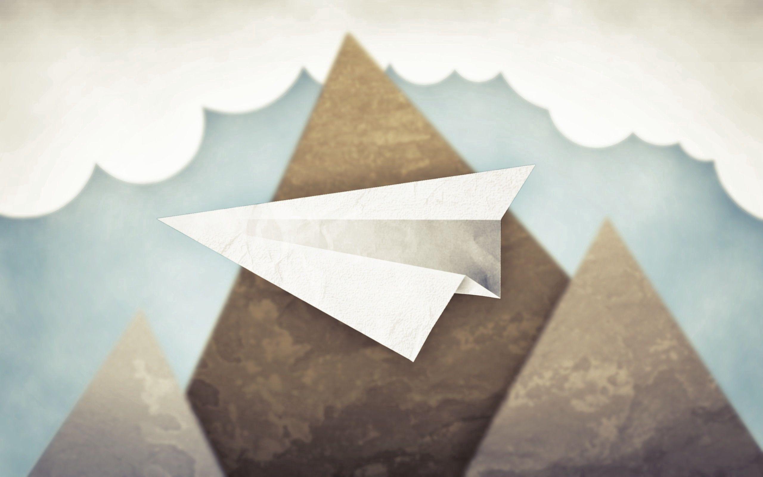 90306 免費下載壁紙 艺术, 极简主义, 云, 天空, 纸飞机, 山 屏保和圖片