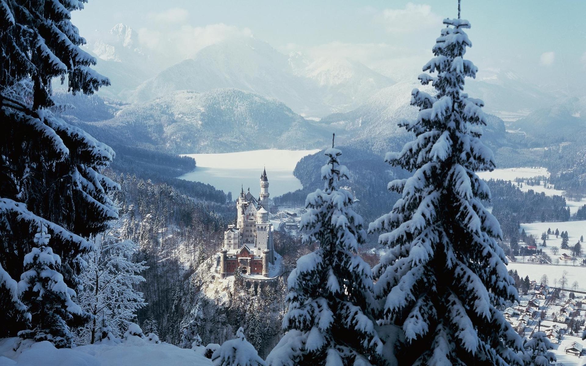48390 скачать обои Замки, Пейзаж, Природа, Снег - заставки и картинки бесплатно