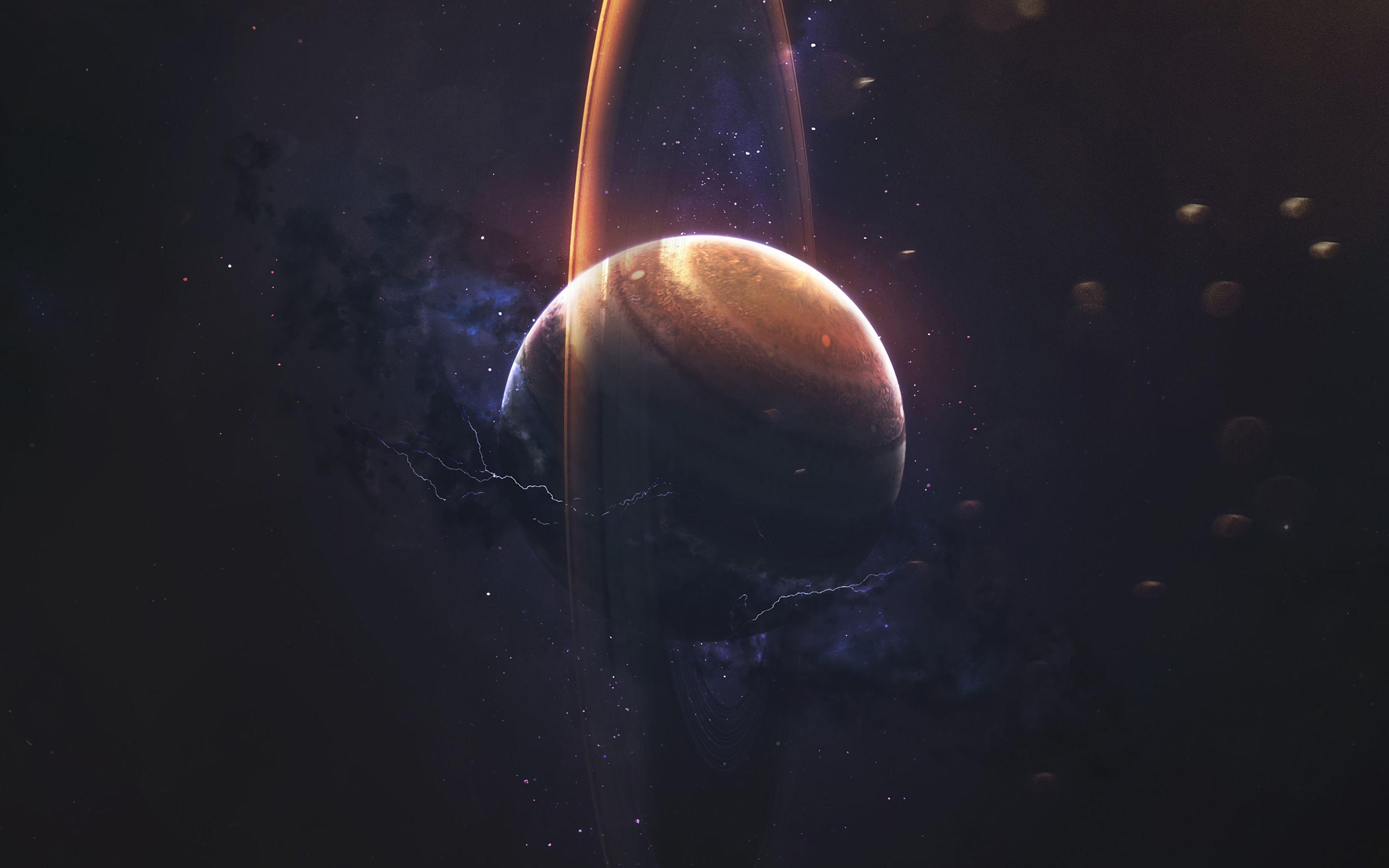 79646 скачать обои Сатурн, Планета, Кольцо, Космос, Молнии, Звезды - заставки и картинки бесплатно