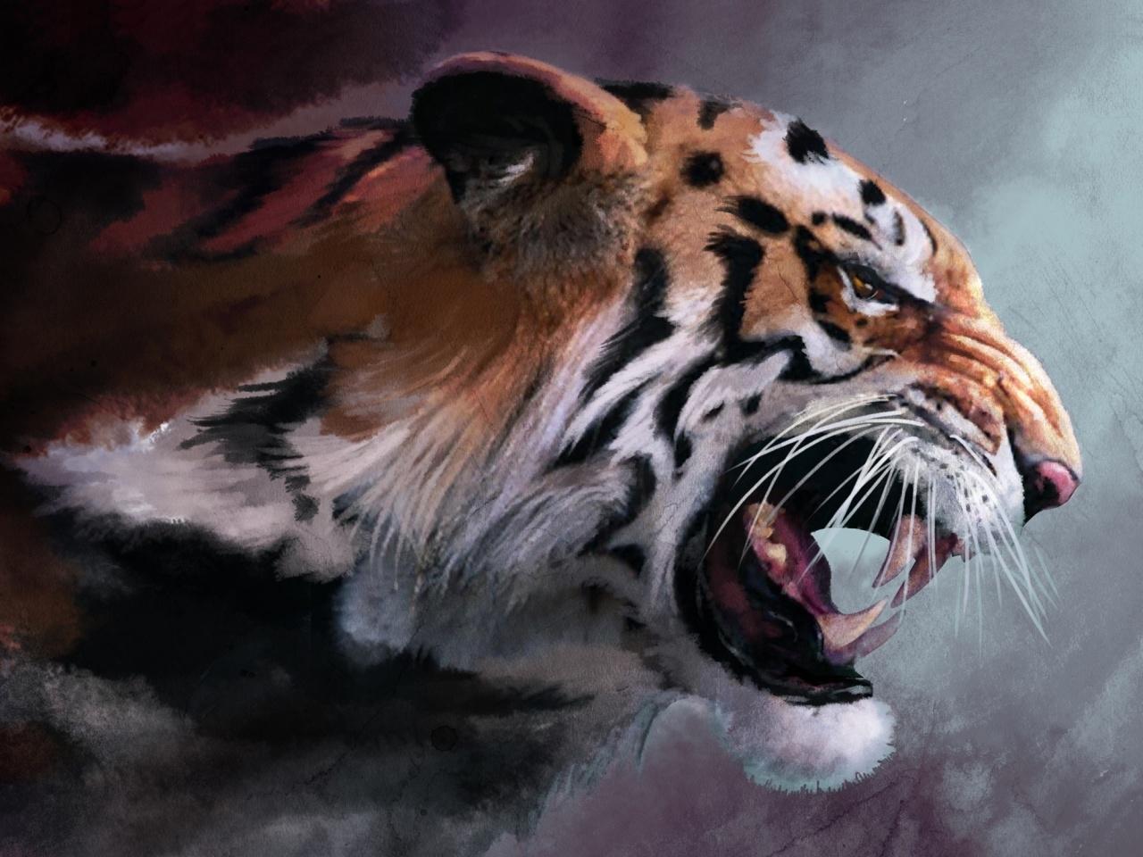 39527 скачать обои Животные, Тигры, Рисунки - заставки и картинки бесплатно