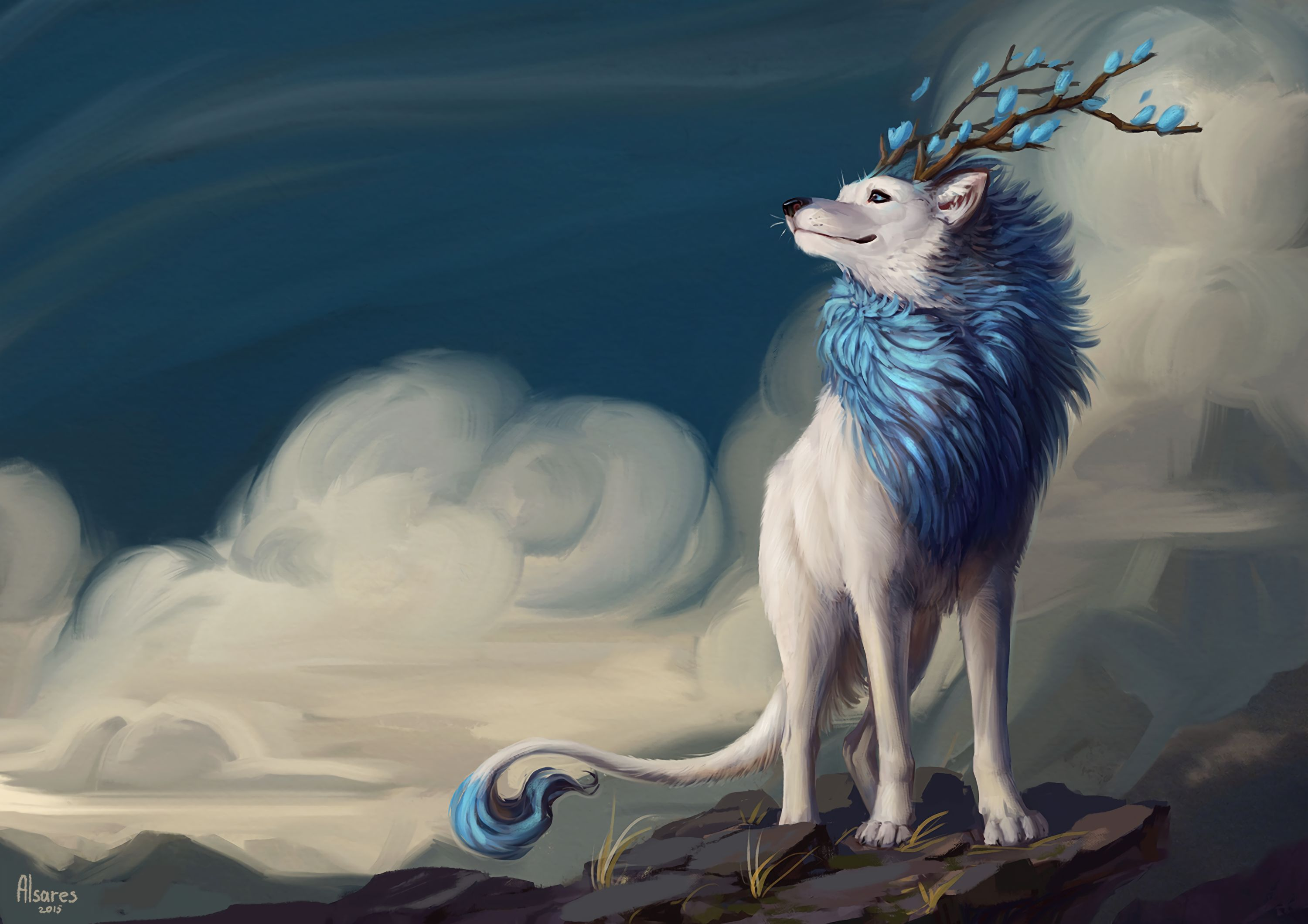 71727 download wallpaper Wolf, Art, Horns, Mane, Flowers screensavers and pictures for free