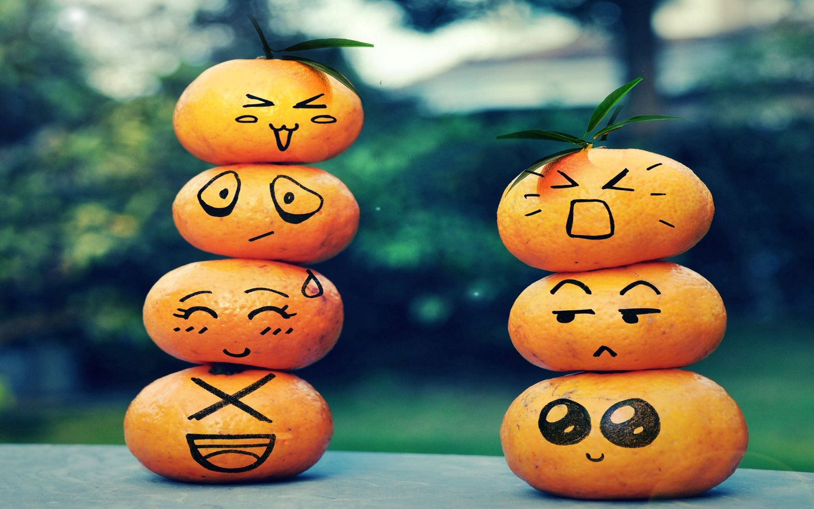 83608 download wallpaper Fruits, Leaves, Miscellanea, Miscellaneous, Table, Bokeh, Boquet, Faces, Smileys, Emoticons screensavers and pictures for free