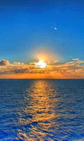 104005 Заставки и Обои Солнце на телефон. Скачать Природа, Небо, Море, Дорожка, Отражение, Облака, Рябь, Горизонт, Линия, Солнце картинки бесплатно
