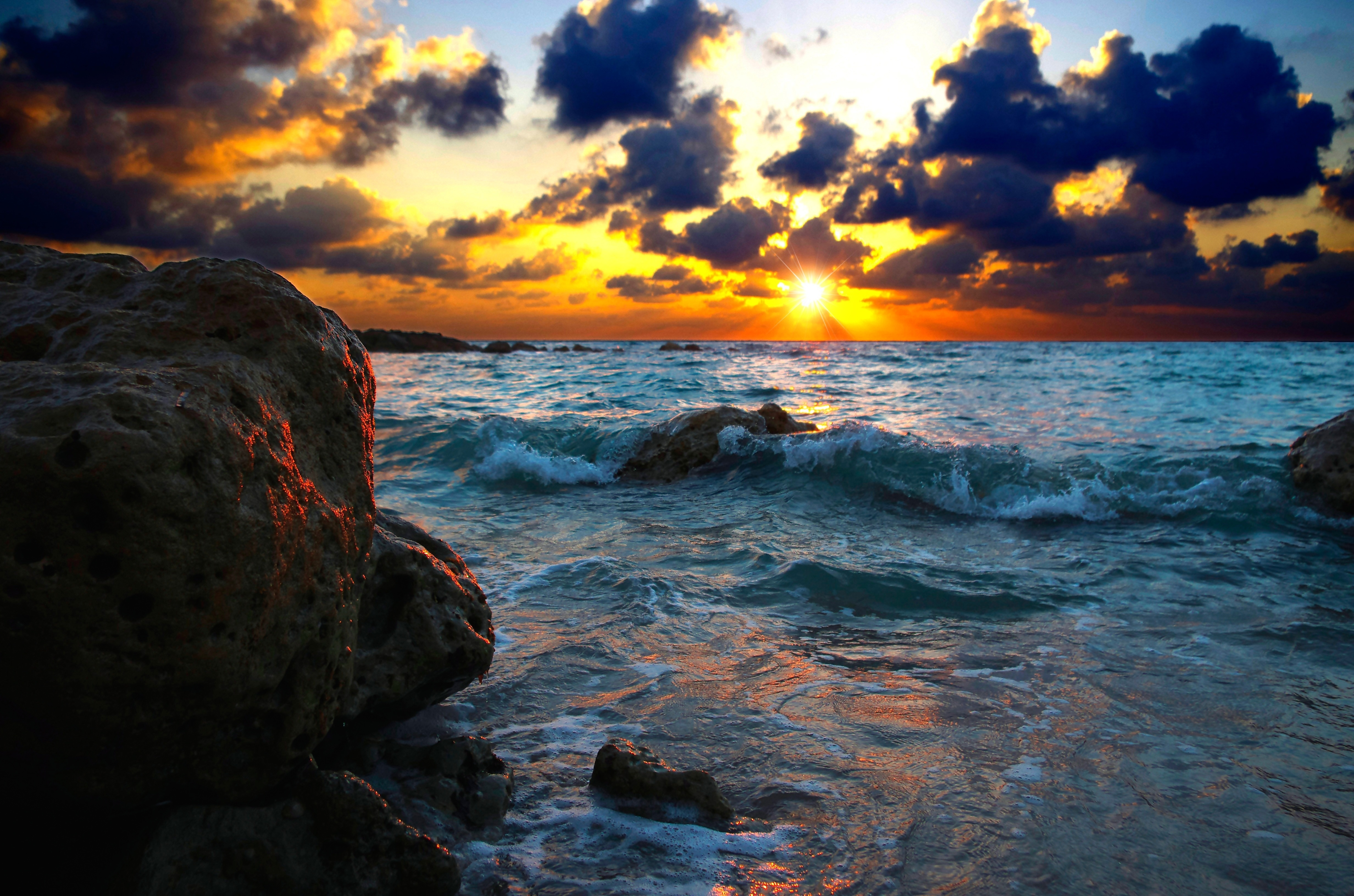 146678 download wallpaper Nature, Sea, Surf, Sunset, Stones screensavers and pictures for free