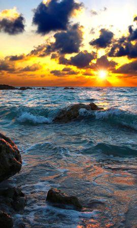 146678 скачать обои Природа, Море, Прибой, Закат, Камни - заставки и картинки бесплатно