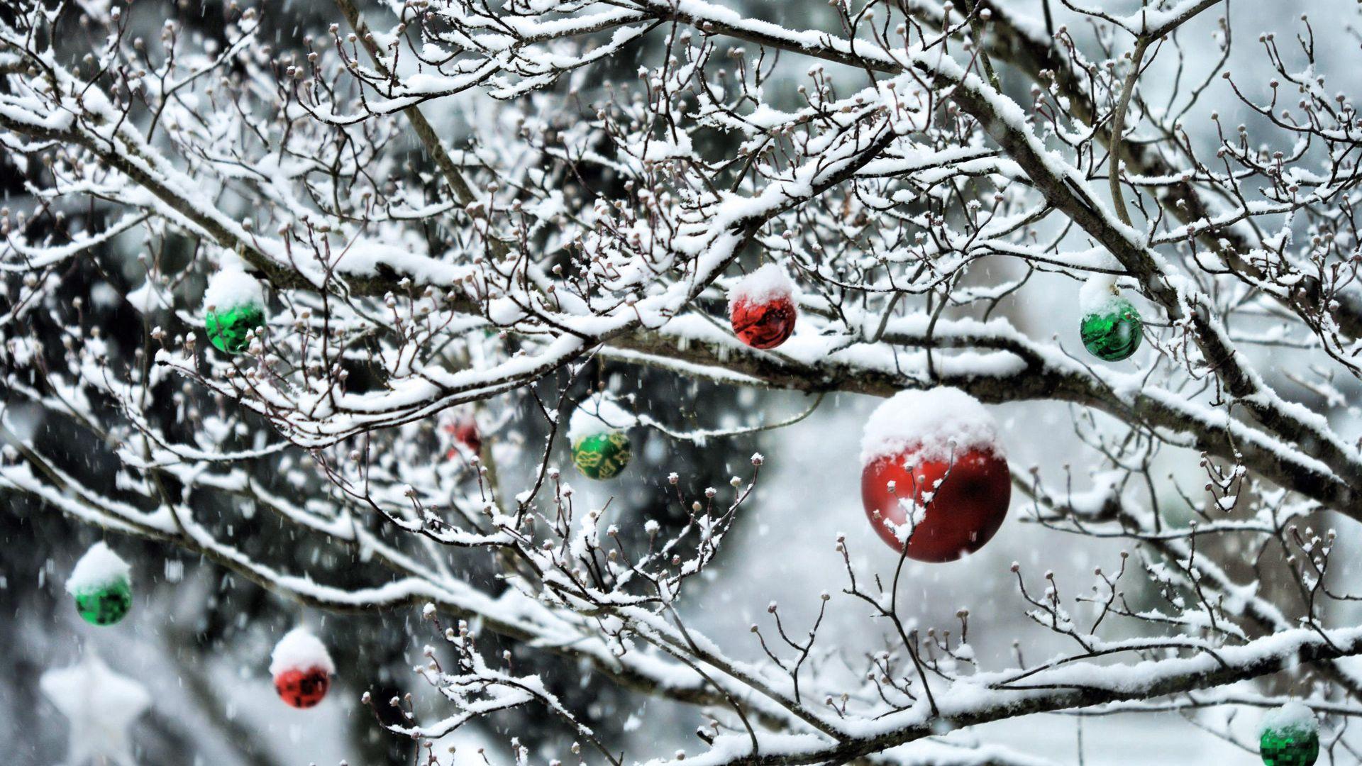 136807 Salvapantallas y fondos de pantalla Año Nuevo en tu teléfono. Descarga imágenes de Vacaciones, Pelotas, Bolas, Sucursales, Ramas, Año Nuevo, Nieve gratis
