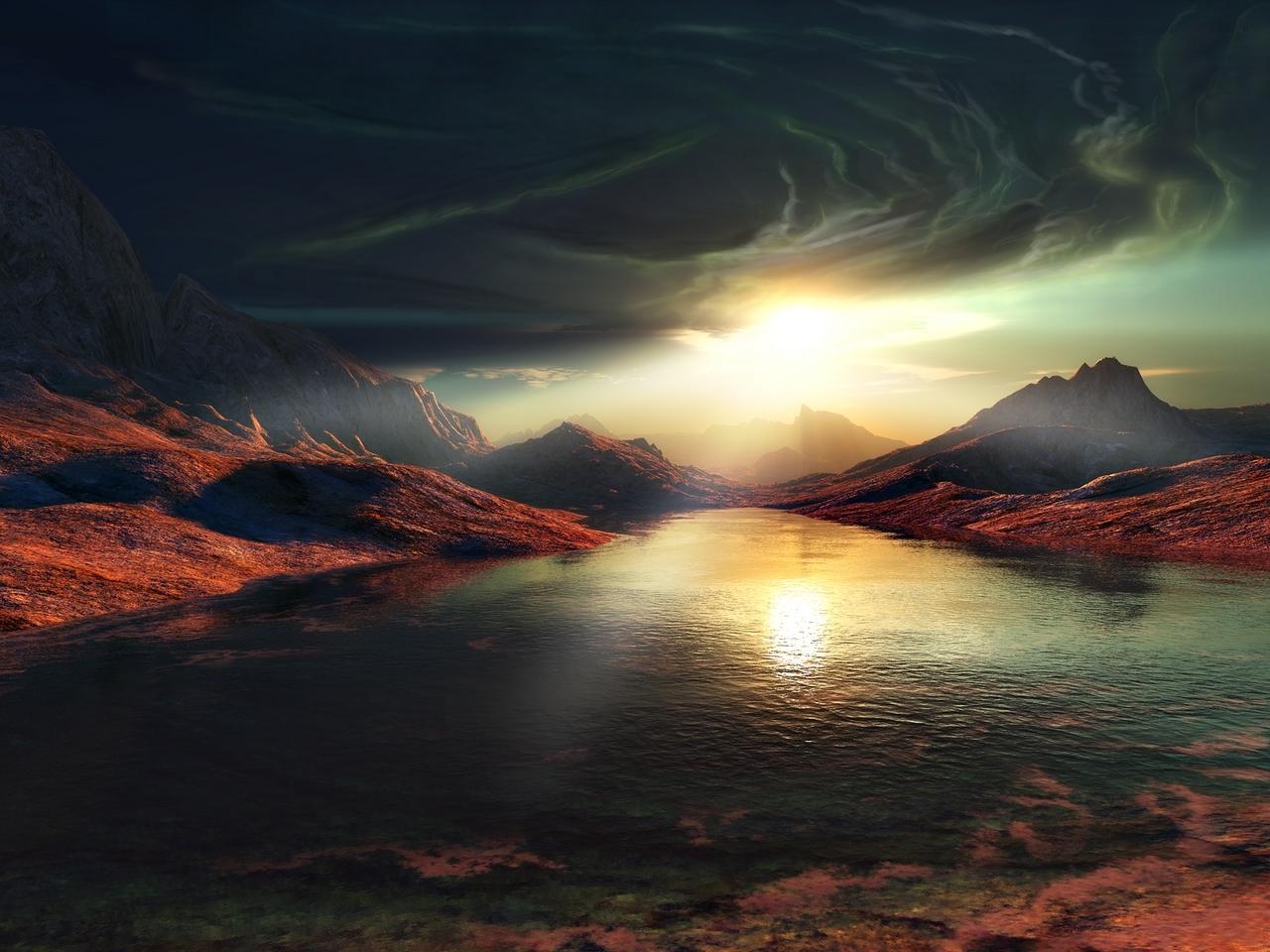 8789 скачать обои Пейзаж, Небо, Горы, Озера - заставки и картинки бесплатно
