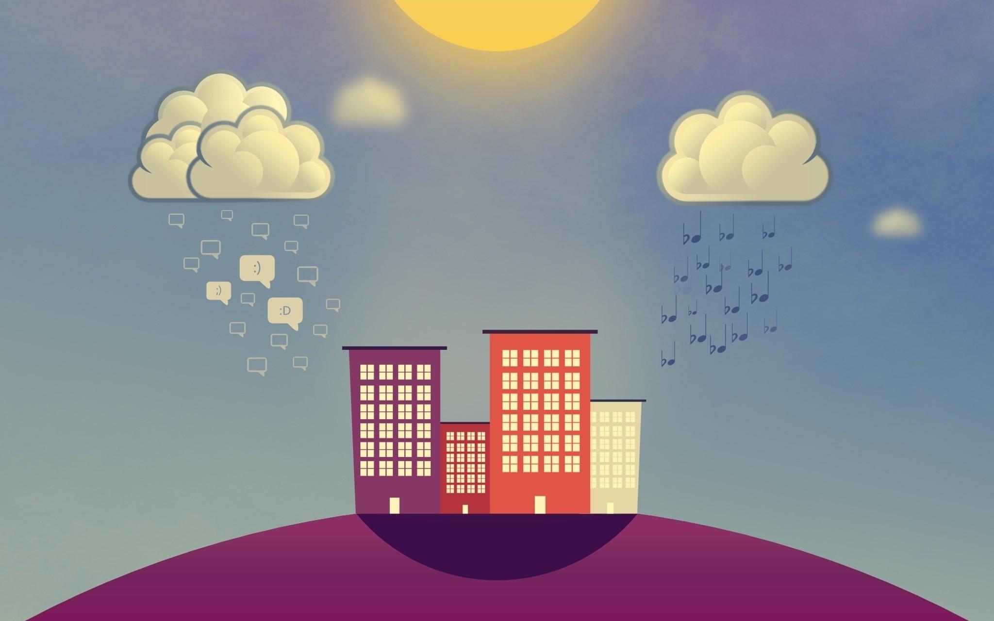 156835 Hintergrundbild herunterladen Musik, Regen, Clouds, Vektor, Gebäude, Lächeln, Anmerkungen, Smileys - Bildschirmschoner und Bilder kostenlos