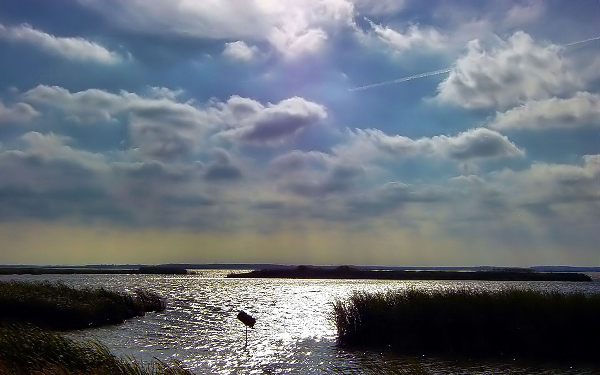 112443 download wallpaper Nature, Sky, Clouds, Water, Thickets, Thicket, Reeds, Ripples, Ripple screensavers and pictures for free