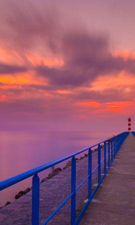 140944 скачать обои Природа, Пирс, Маяк, Море, Закат, Горизонт, Порт-Ла-Нувель, Франция - заставки и картинки бесплатно