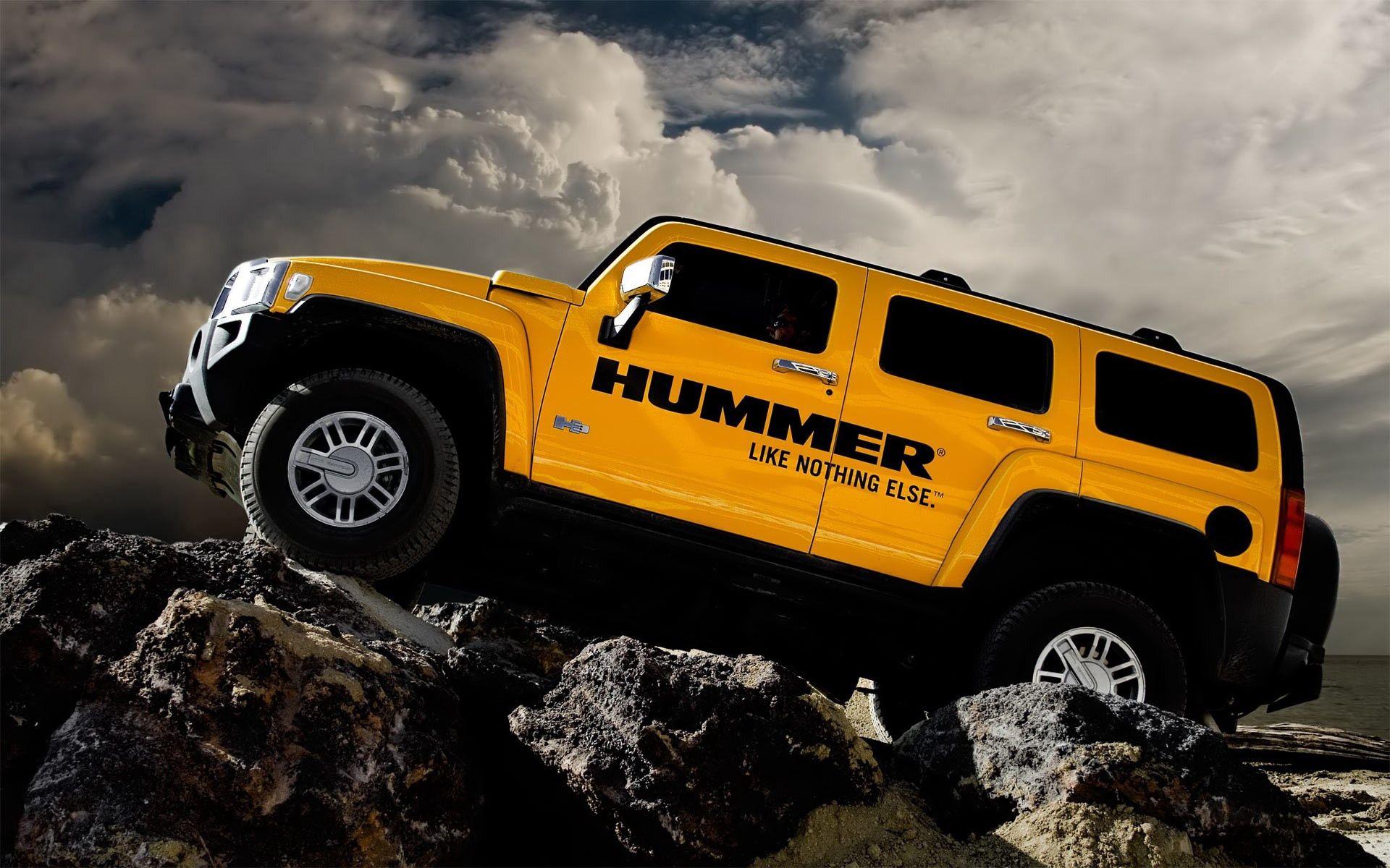 102013 скачать обои Тачки (Cars), Хаммер, H3, Машины, Желтый, Вид Слева - заставки и картинки бесплатно