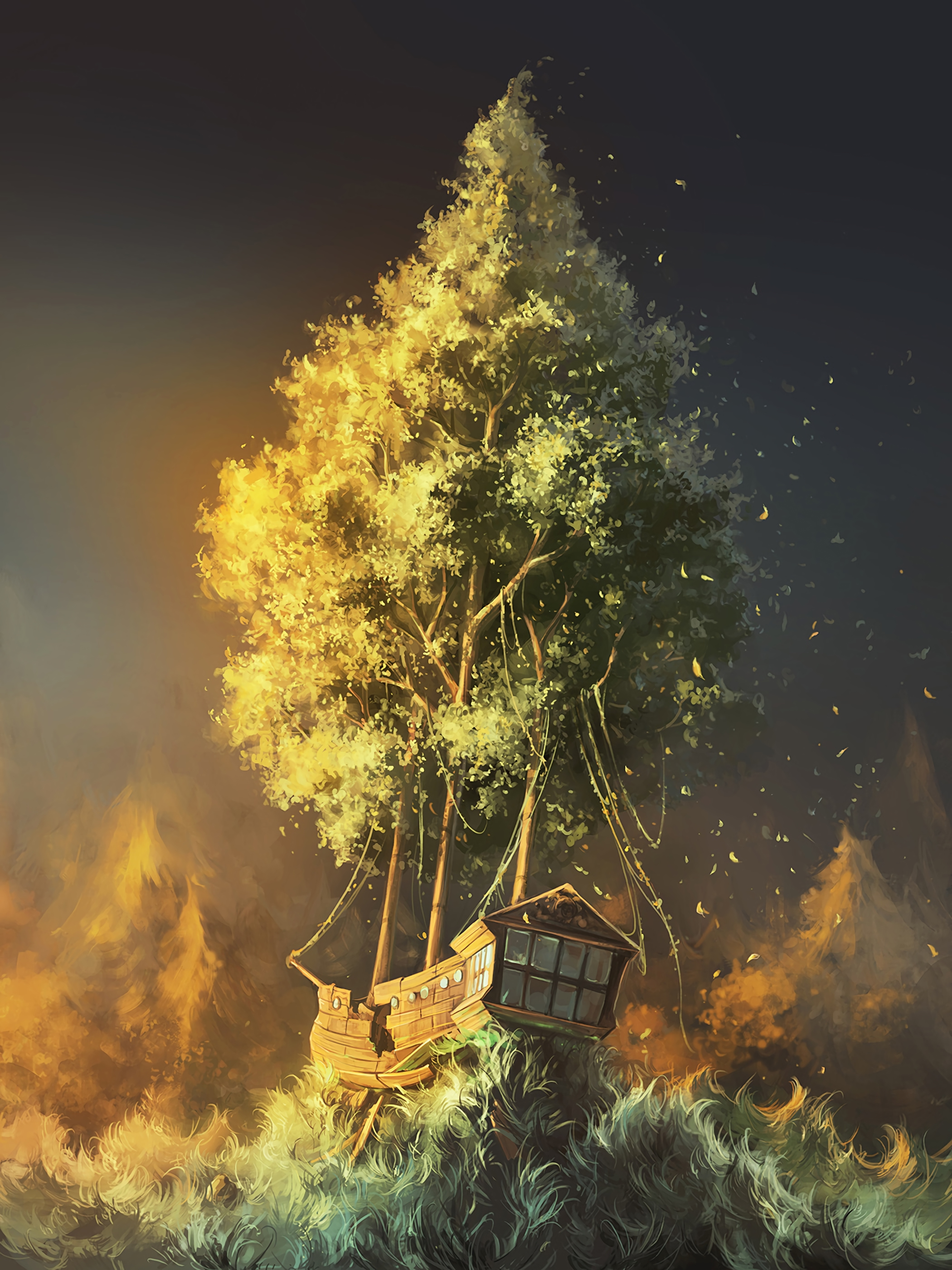 140581 Screensavers and Wallpapers Art for phone. Download Art, Fantasy, Wood, Tree, Ship pictures for free