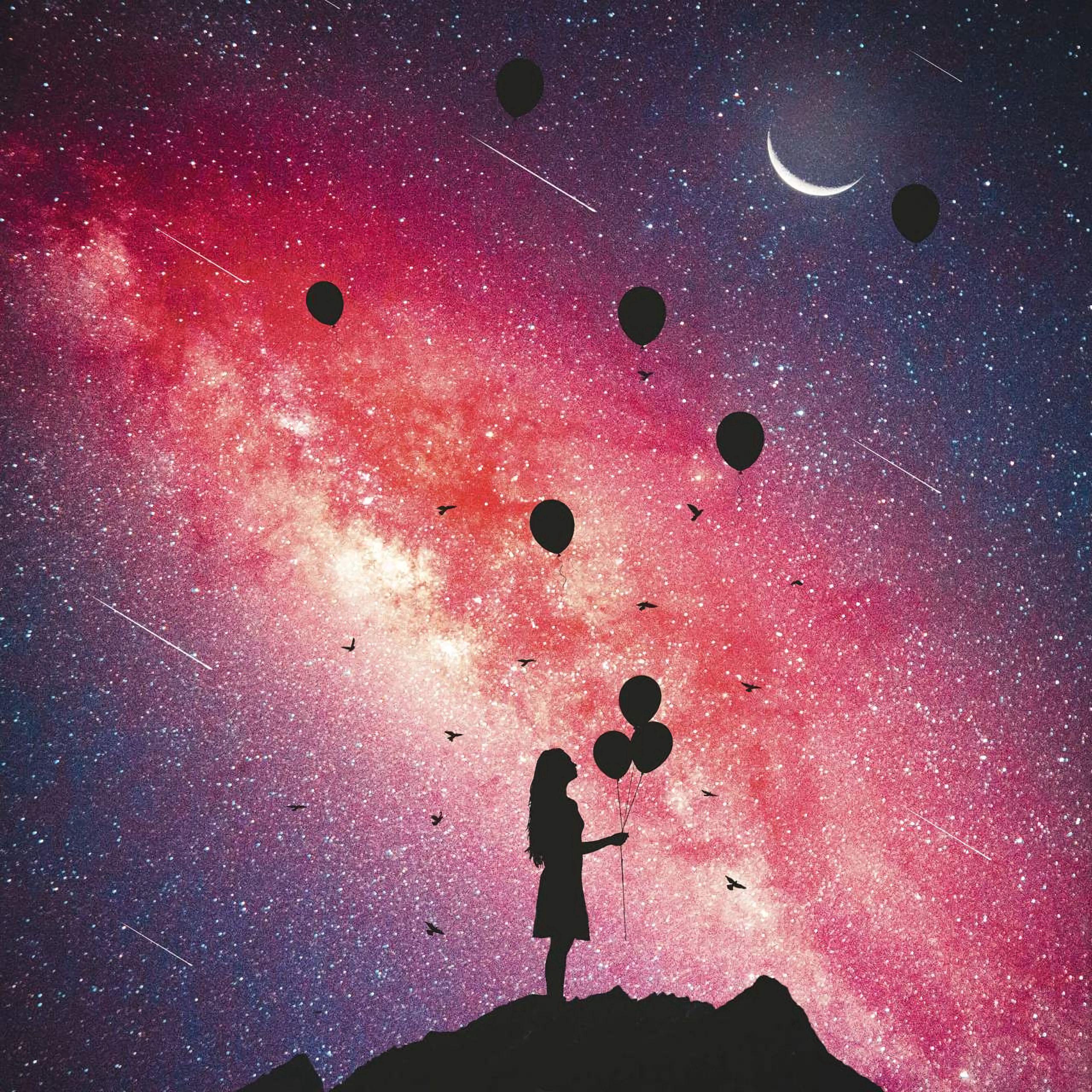153193 скачать обои Темные, Девочка, Силуэт, Звездное Небо, Воздушные Шары - заставки и картинки бесплатно