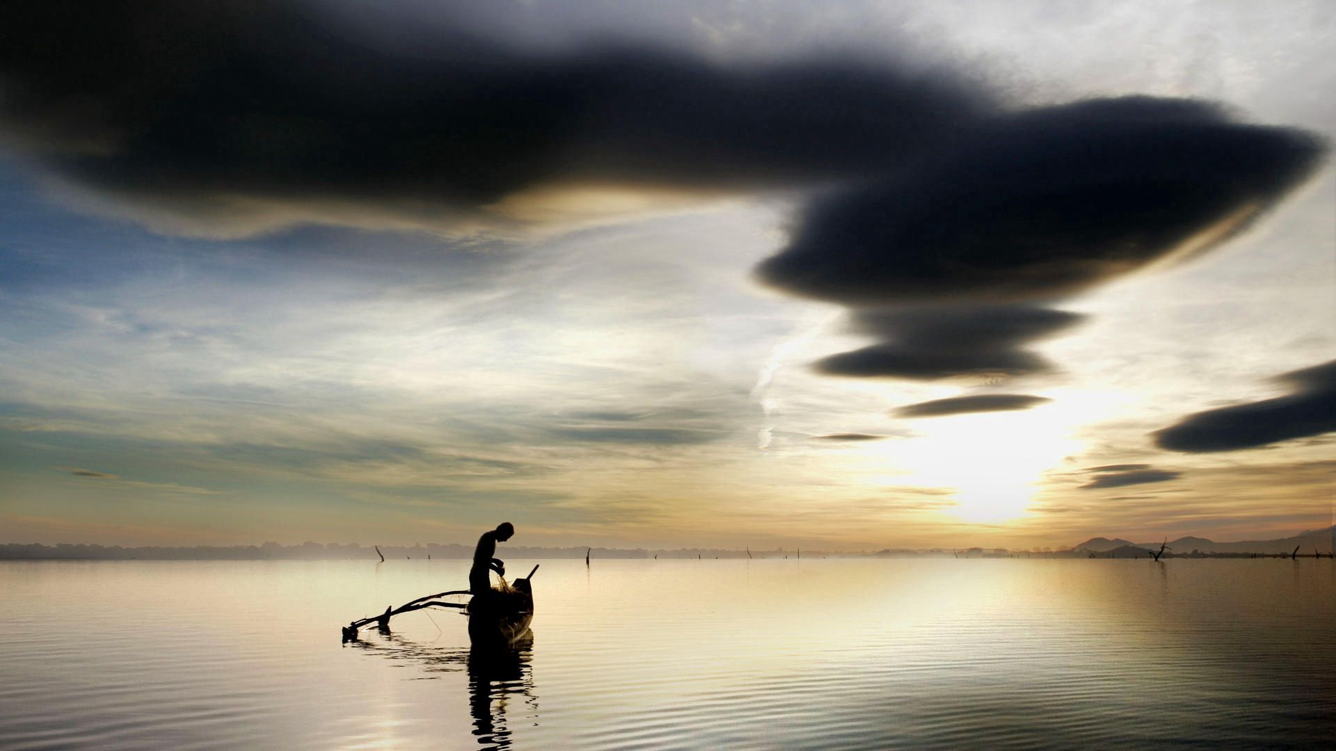 97712 free wallpaper 2160x3840 for phone, download images Nature, Sky, Clouds, Lake, Boat, Fisherman 2160x3840 for mobile