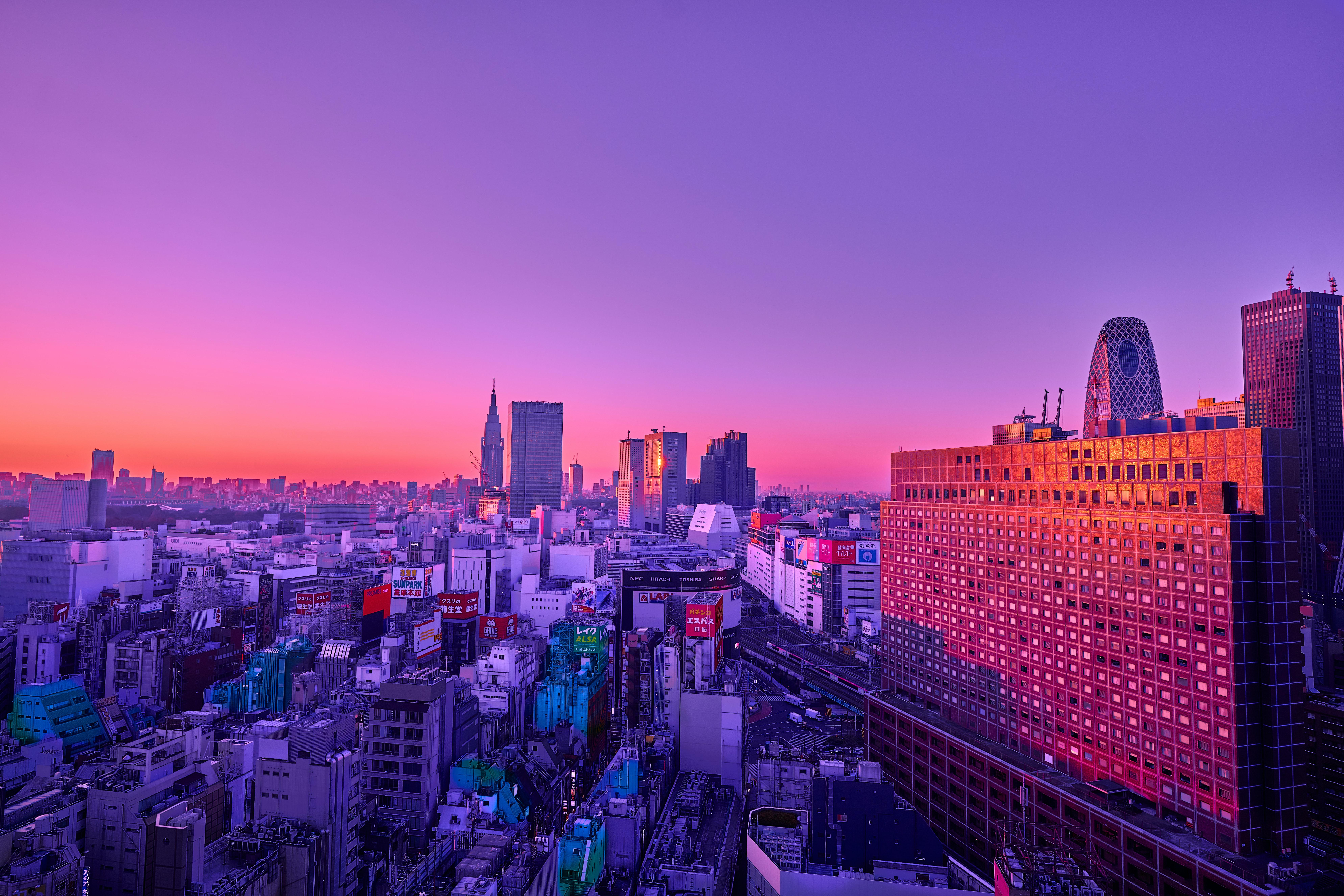 免費下載 64145: 城市, 黄昏, 建造, 建筑物, 从上面看, 顶视图, 紫色的 桌面壁紙