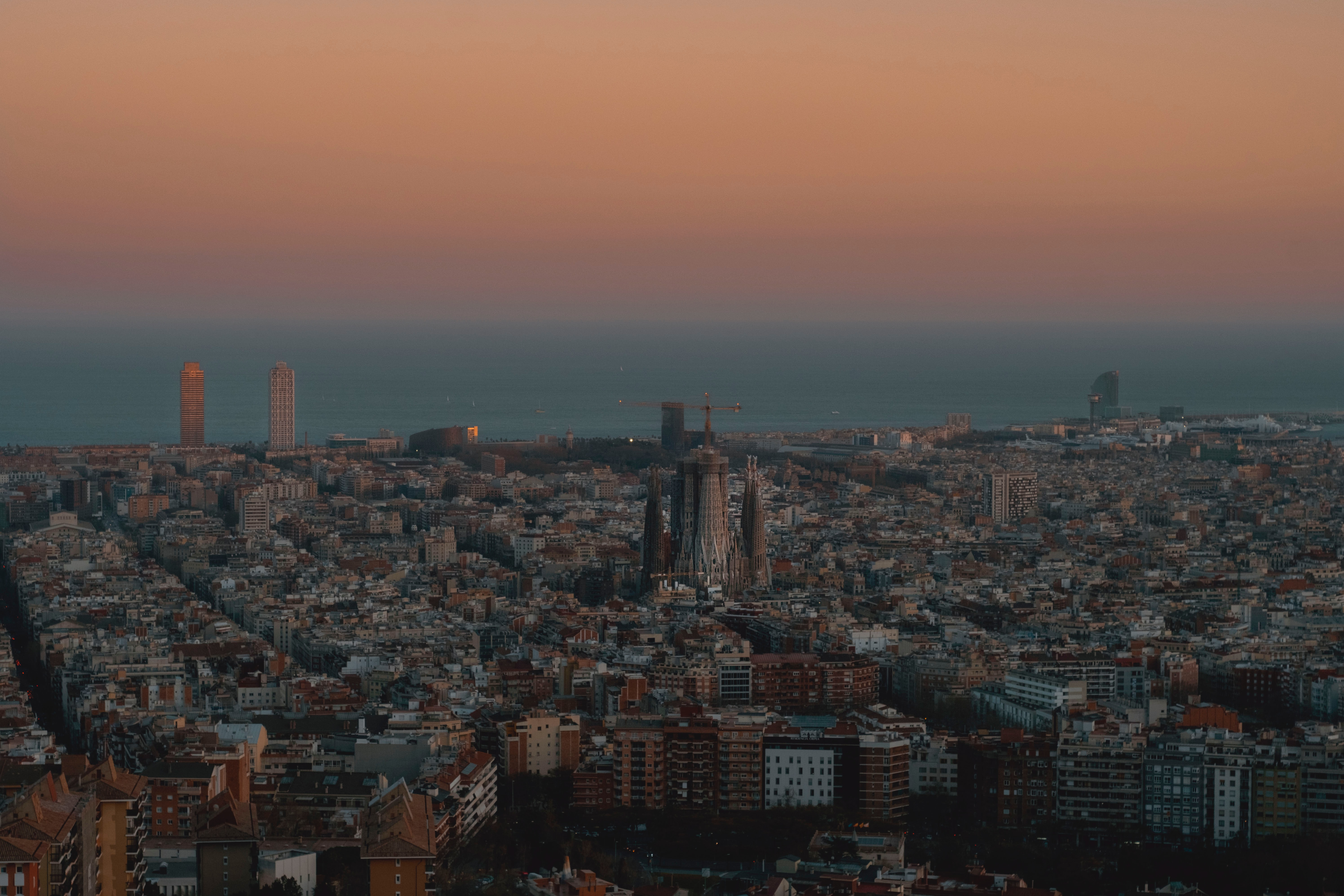 154232 download wallpaper City, Building, View From Above, Urban Landscape, Cityscape, Sea, Dusk, Twilight, Cities screensavers and pictures for free