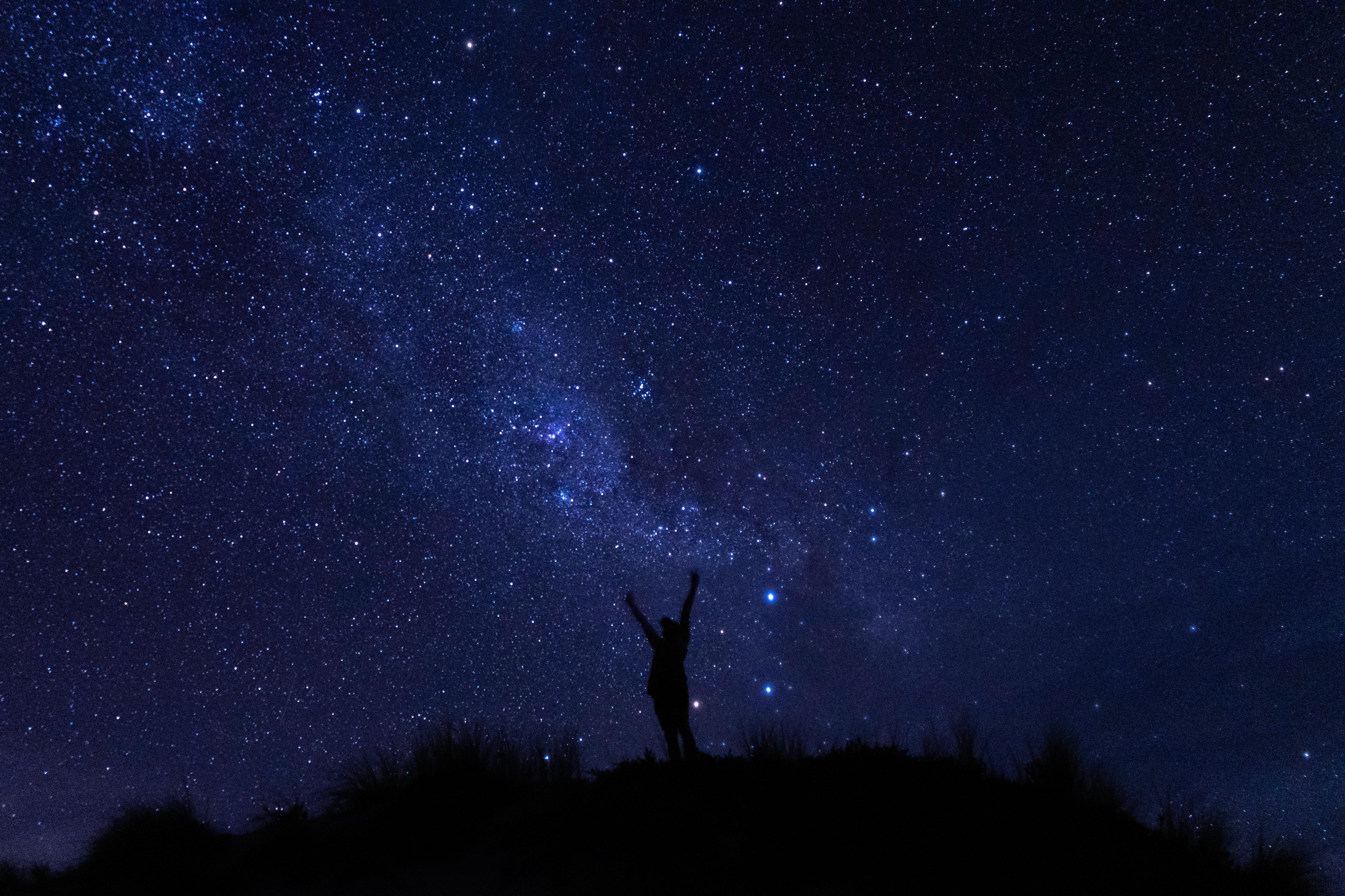 106020 скачать обои Ночь, Темные, Звездное Небо, Силуэт, Темный - заставки и картинки бесплатно