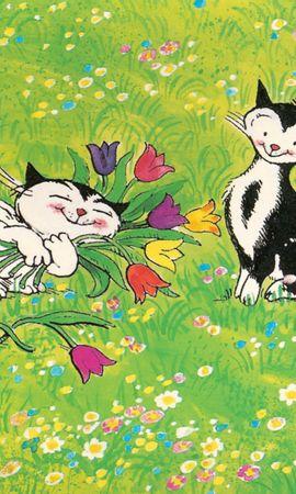 157367 baixar papel de parede Gatos, Polyana, Clareira, Passeio, Passear, Amor, Flores - protetores de tela e imagens gratuitamente