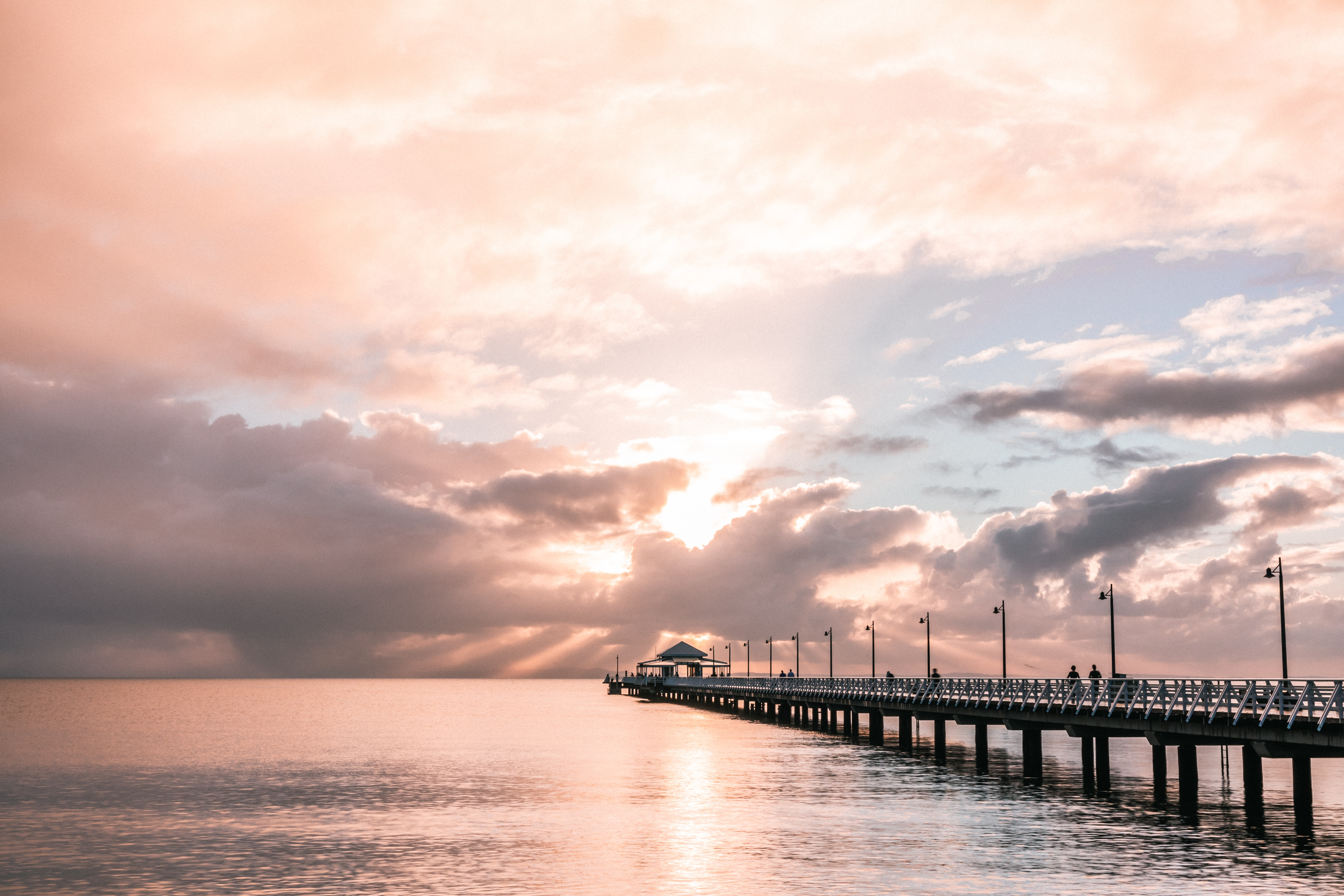 59640 download wallpaper Nature, Sea, Clouds, Horizon, Pier, Silhouettes screensavers and pictures for free