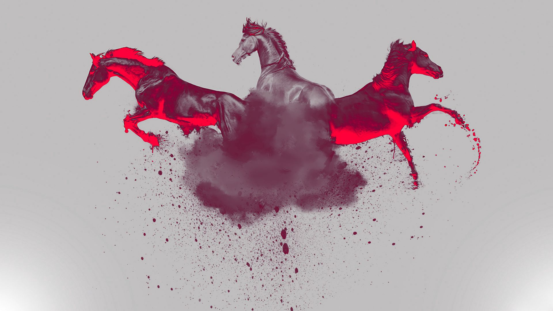 157960 download wallpaper Horses, Abstract, Spray, Paint screensavers and pictures for free