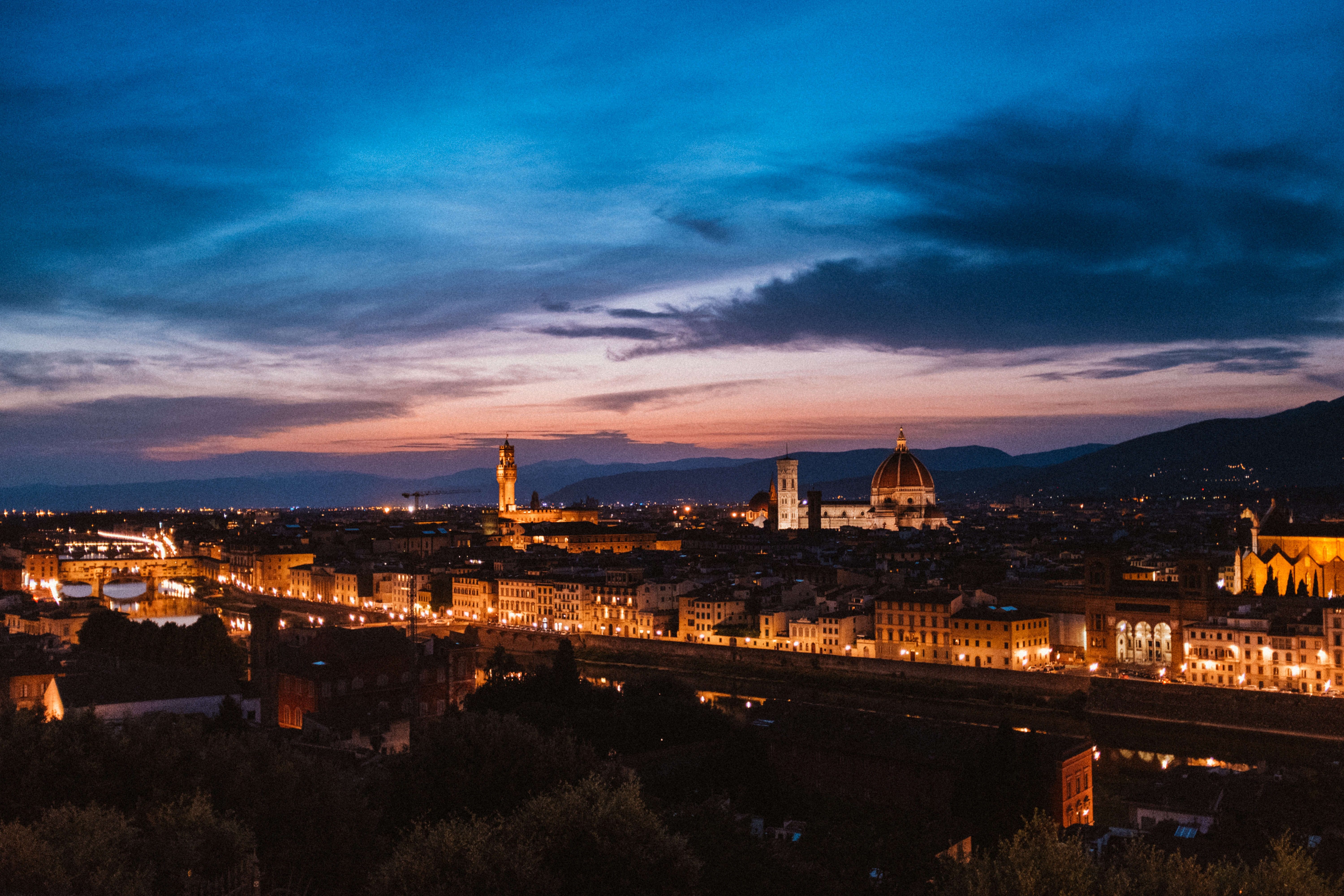68155 Screensavers and Wallpapers Night City for phone. Download Cities, Italy, View From Above, Night City, Florence pictures for free