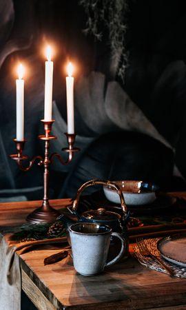 101073 завантажити шпалери Різне, Чашка, Чаша, Чайник, Свічки, Стіл - заставки і картинки безкоштовно