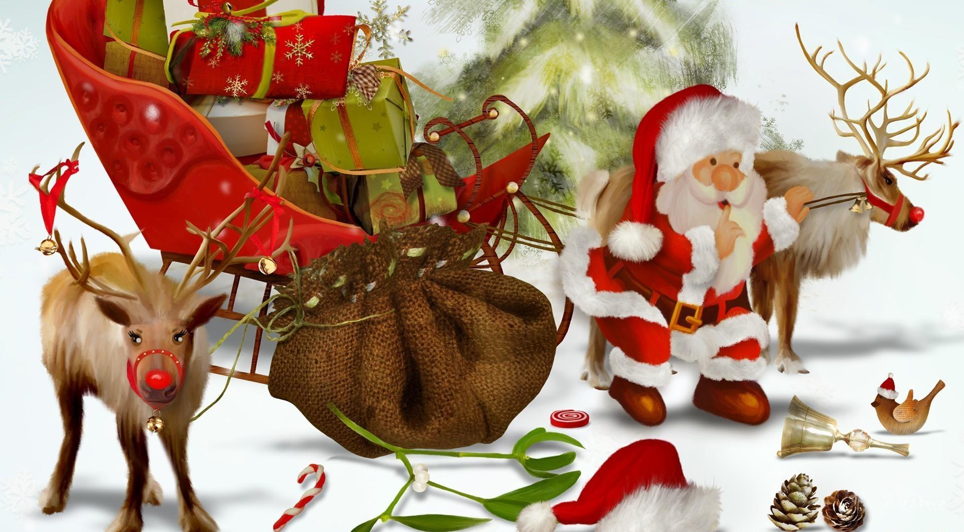 82158 скачать обои Праздники, Санта Клаус, Олени, Подарки, Мешок, Елка, Шишки, Птица - заставки и картинки бесплатно