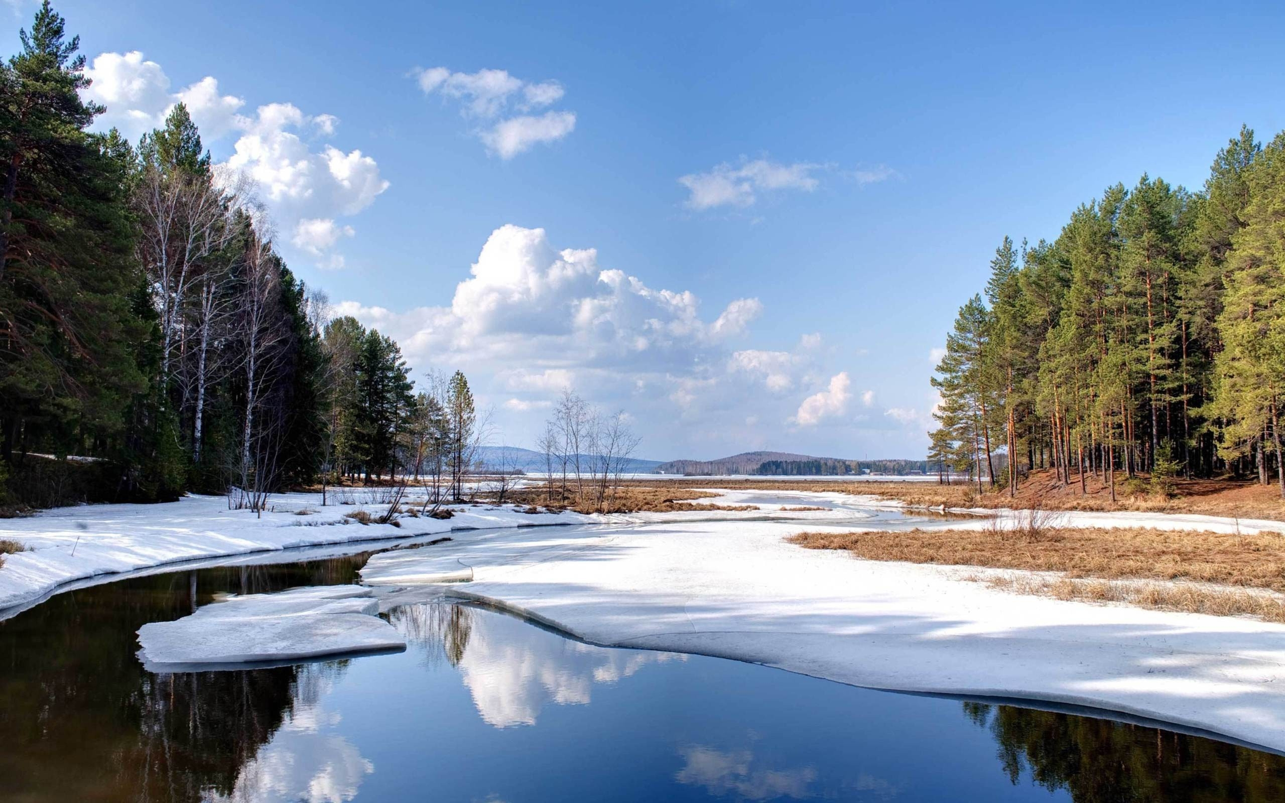 24956 скачать обои Пейзаж, Река, Деревья, Небо, Лед, Облака - заставки и картинки бесплатно