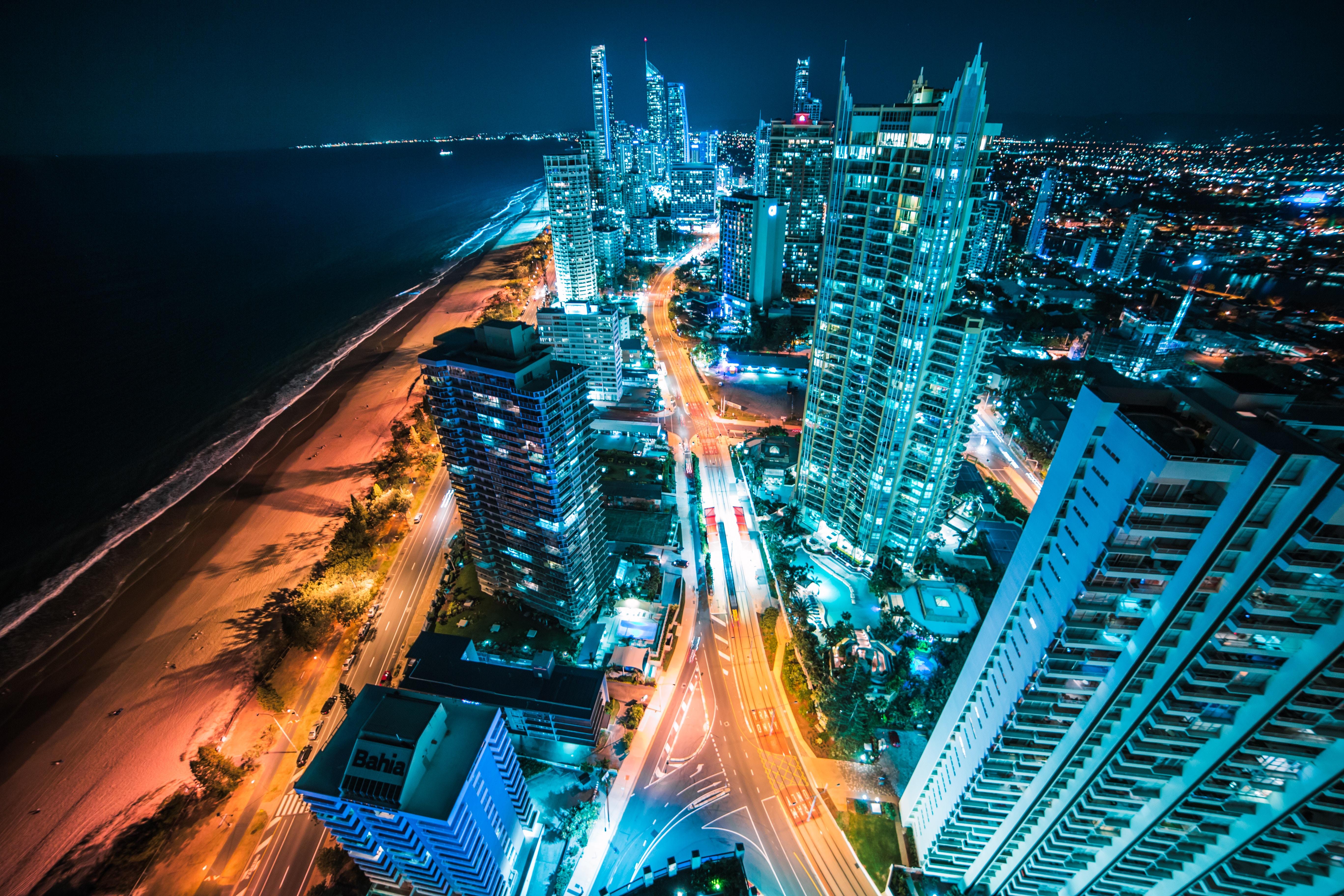 109018 скачать обои Города, Вид Сверху, Ночной Город, Огни Города, Небоскребы, Австралия - заставки и картинки бесплатно